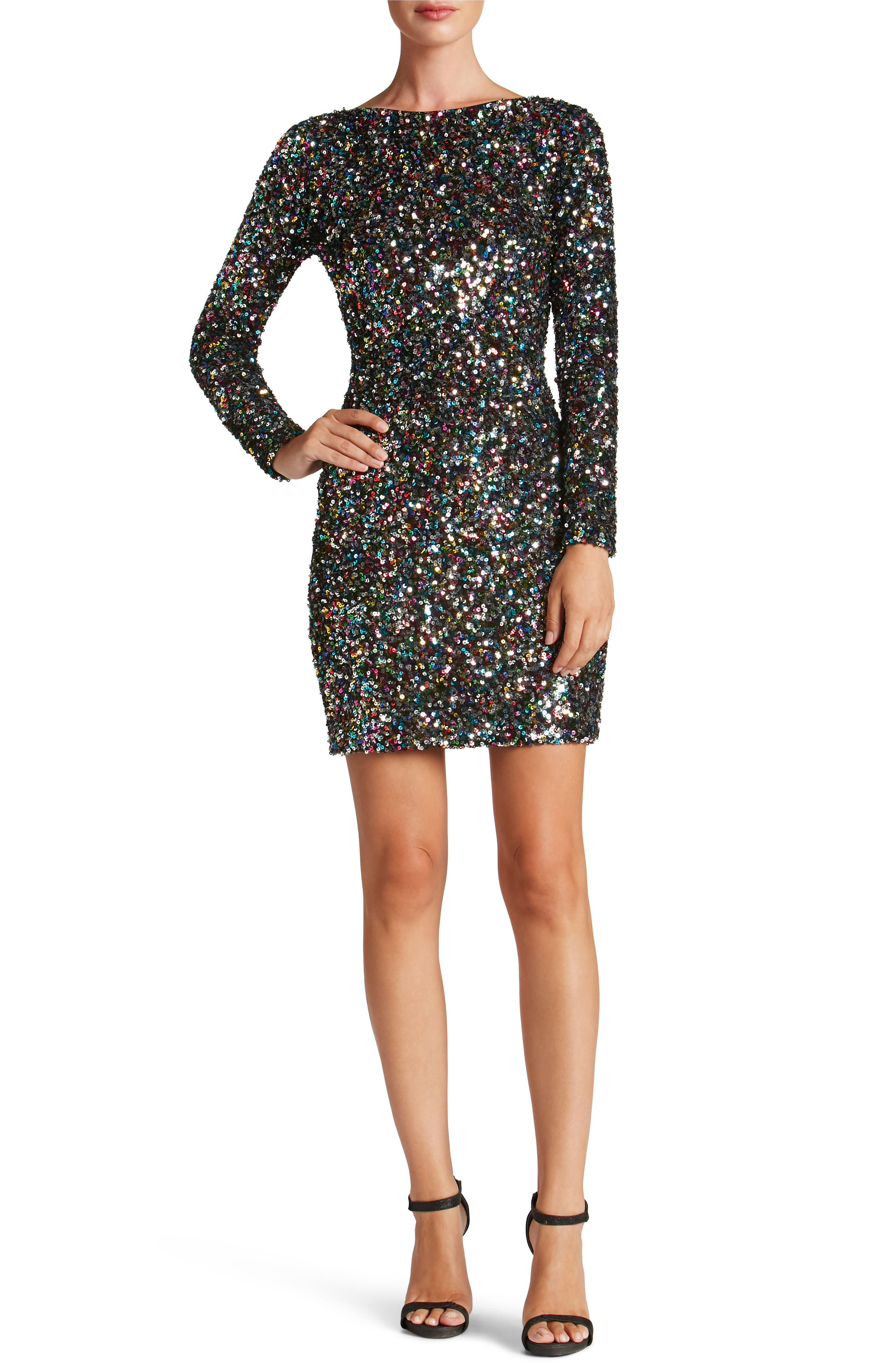 Lola Ombré Sequin Body-Con Dress,                             Main thumbnail 1, color,                             Confetti