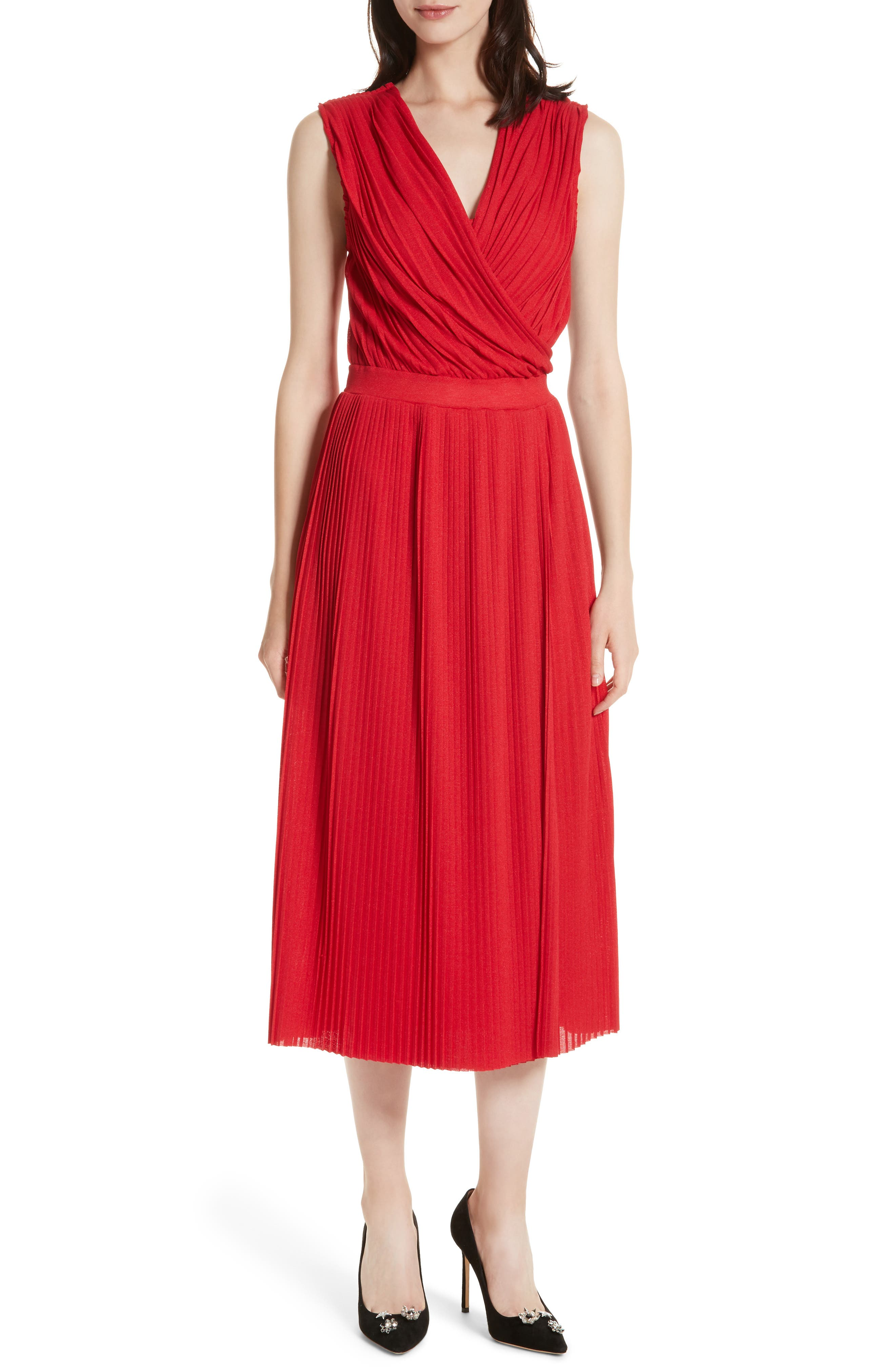 Surplice Fit & Flare Dress,                             Main thumbnail 1, color,                             Red Lacquer