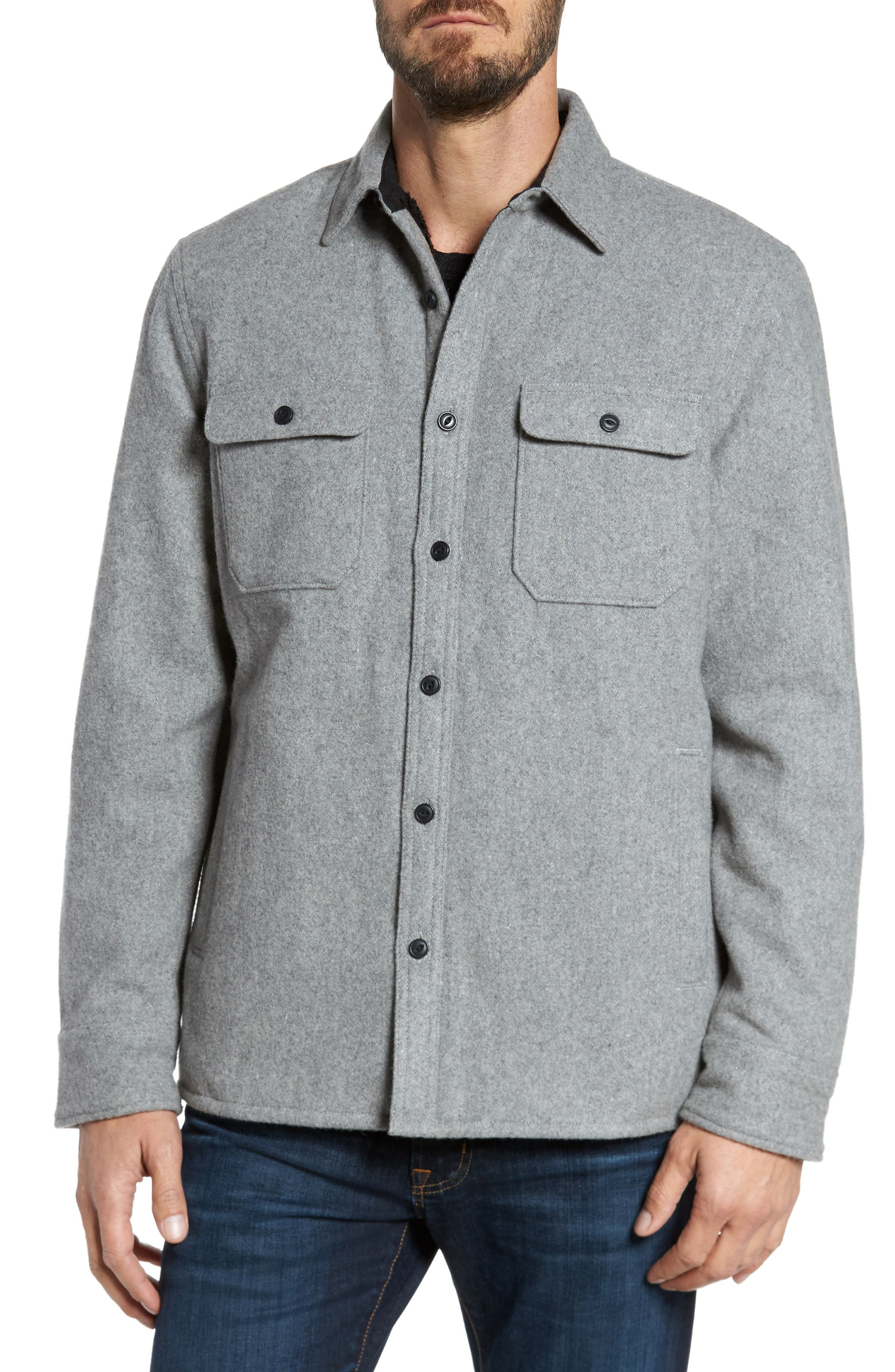 Shirt Jacket,                             Alternate thumbnail 4, color,                             Heather Grey