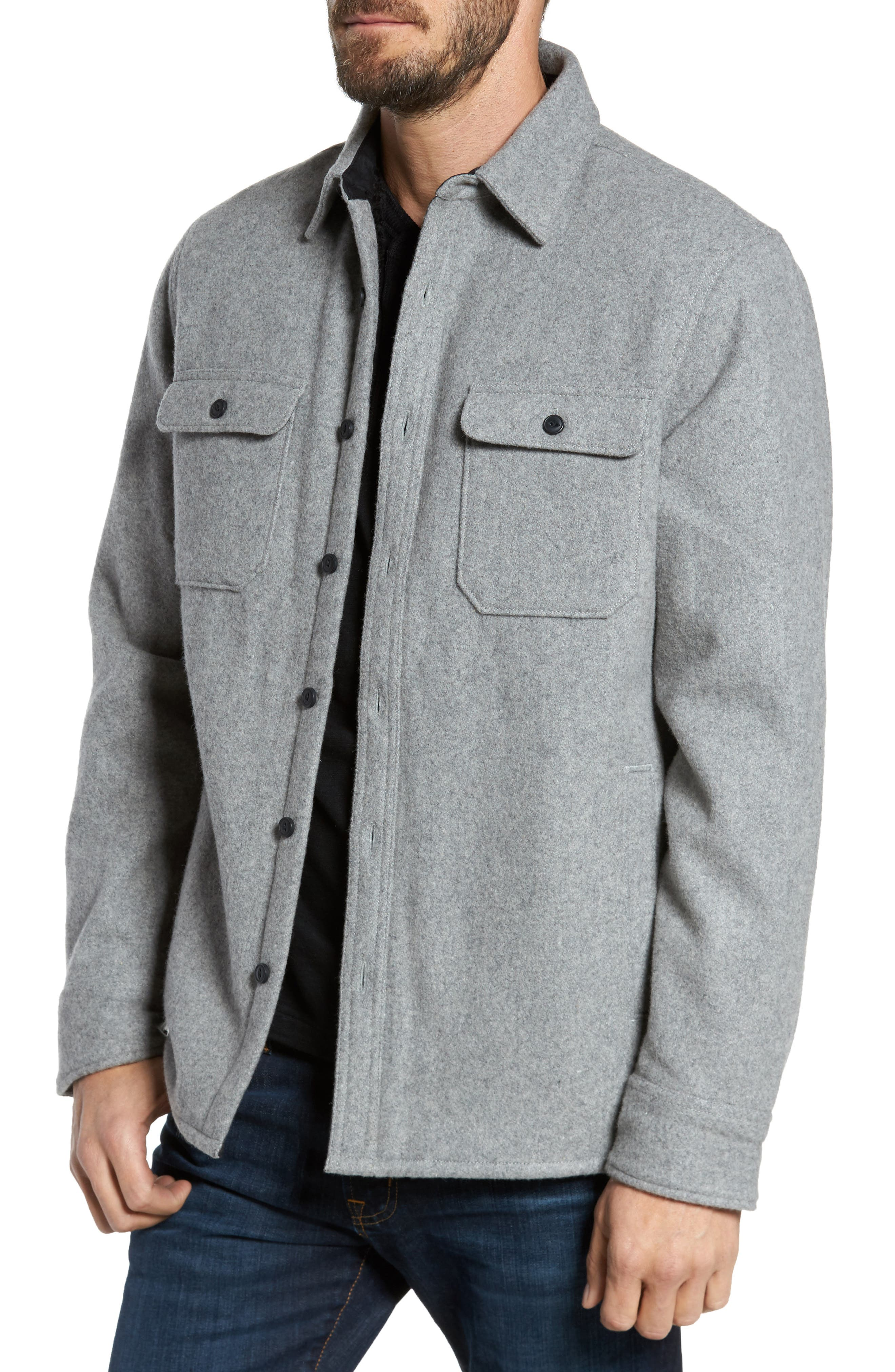 Shirt Jacket,                             Main thumbnail 1, color,                             Heather Grey