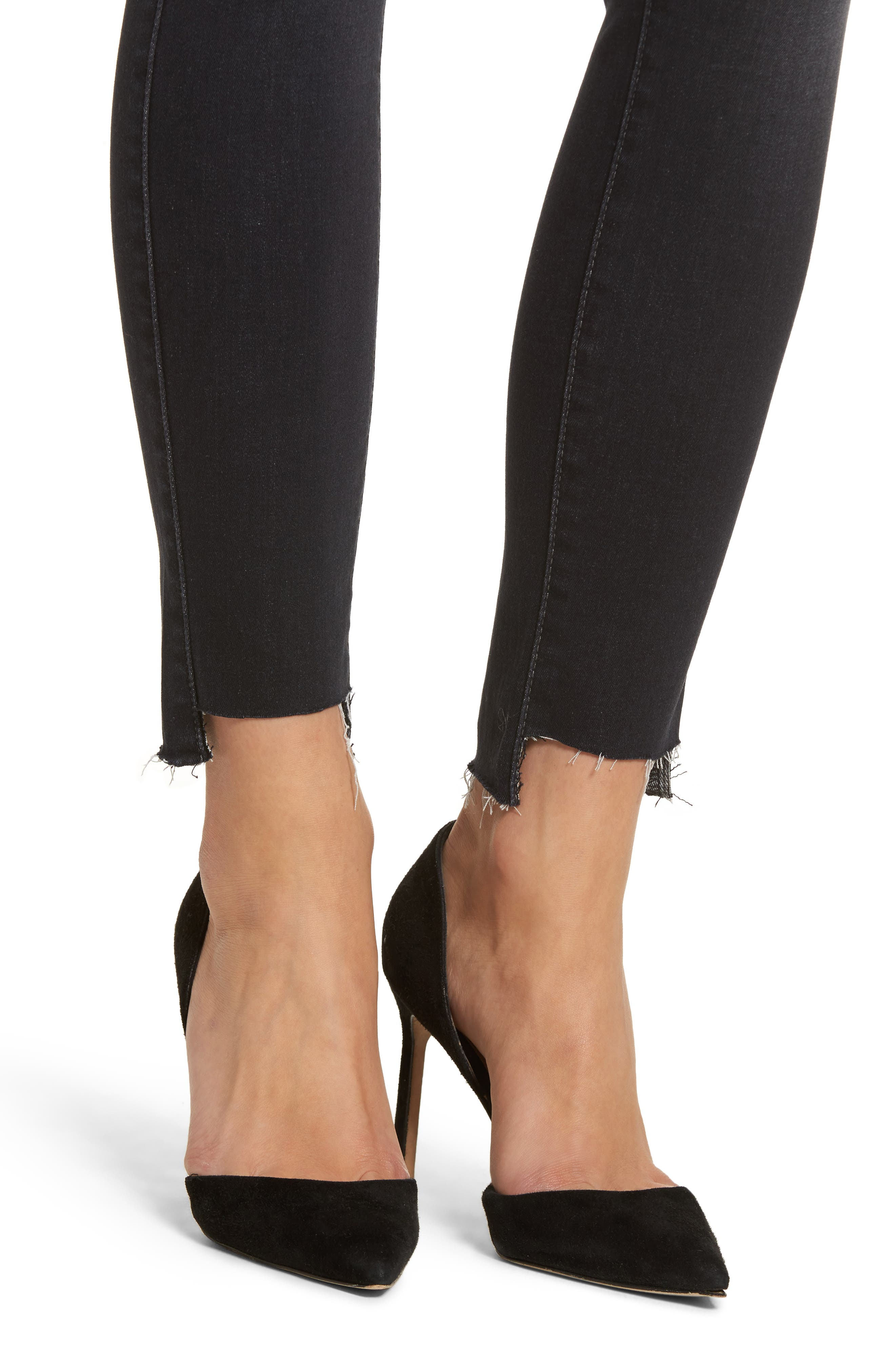 Alternate Image 4  - Fidelity Denim Mila Step Hem Skinny Jeans (After Midnight)