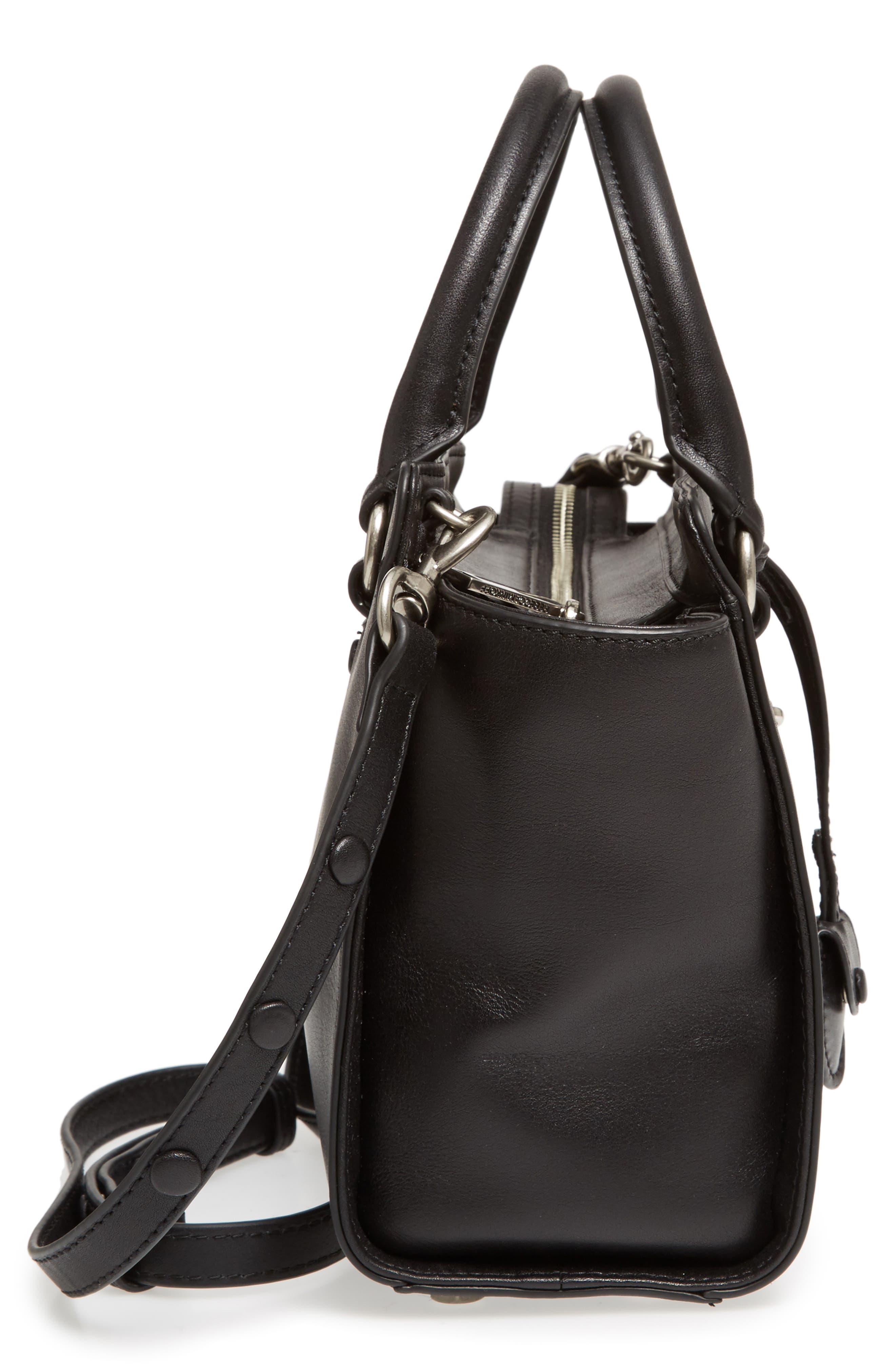 Small Jamie Leather Satchel,                             Alternate thumbnail 5, color,                             Black