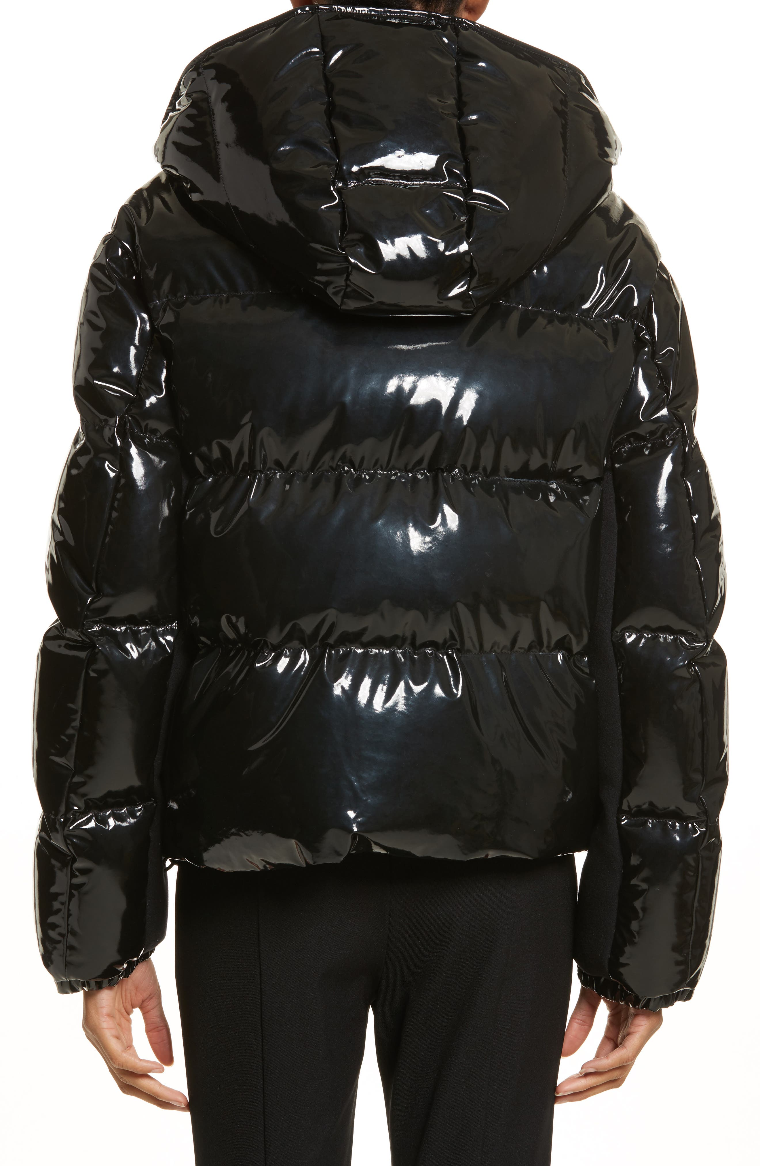 Gaura Shiny Down Quilted Puffer Coat,                             Alternate thumbnail 2, color,                             Black