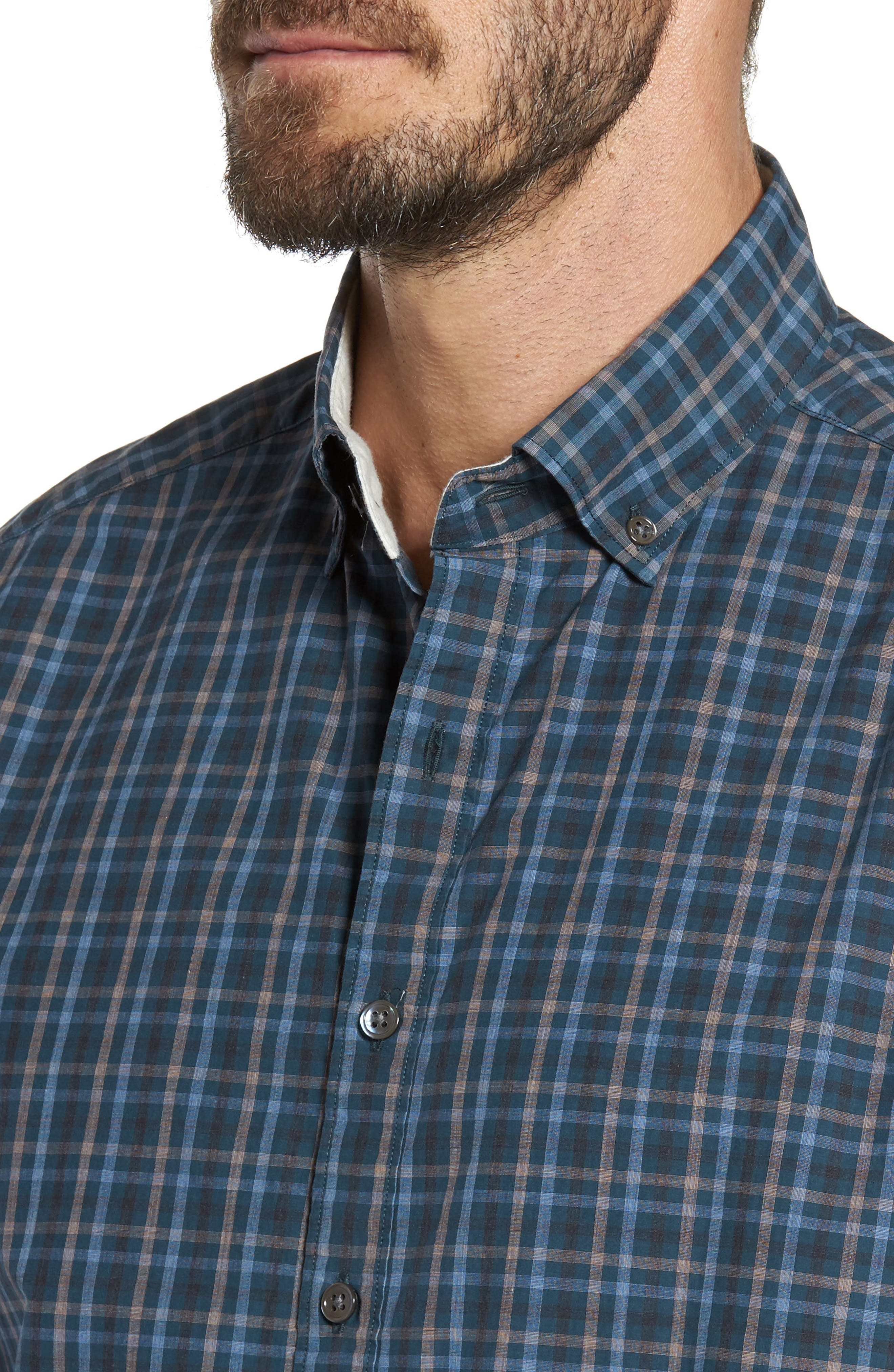 Rock and Pillar Check Sport Shirt,                             Alternate thumbnail 4, color,                             Forest