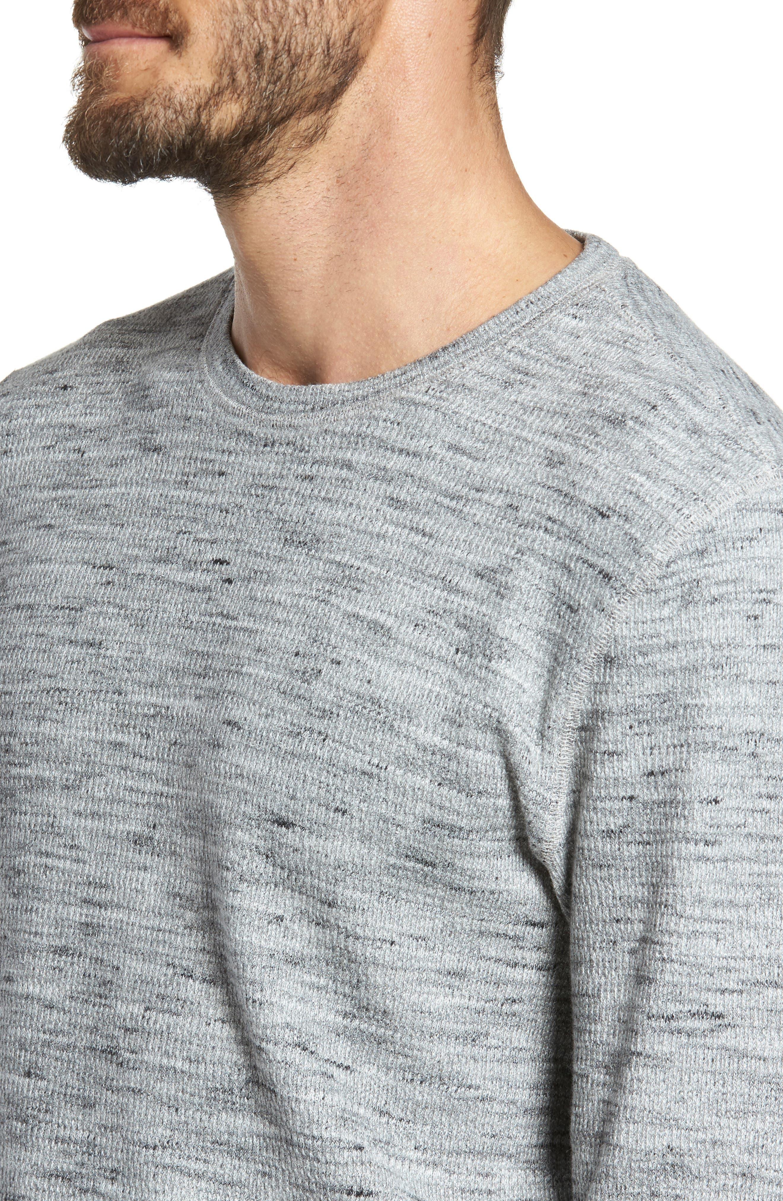 Waffle Knit Shirt,                             Alternate thumbnail 4, color,                             Grey Sleet Melange