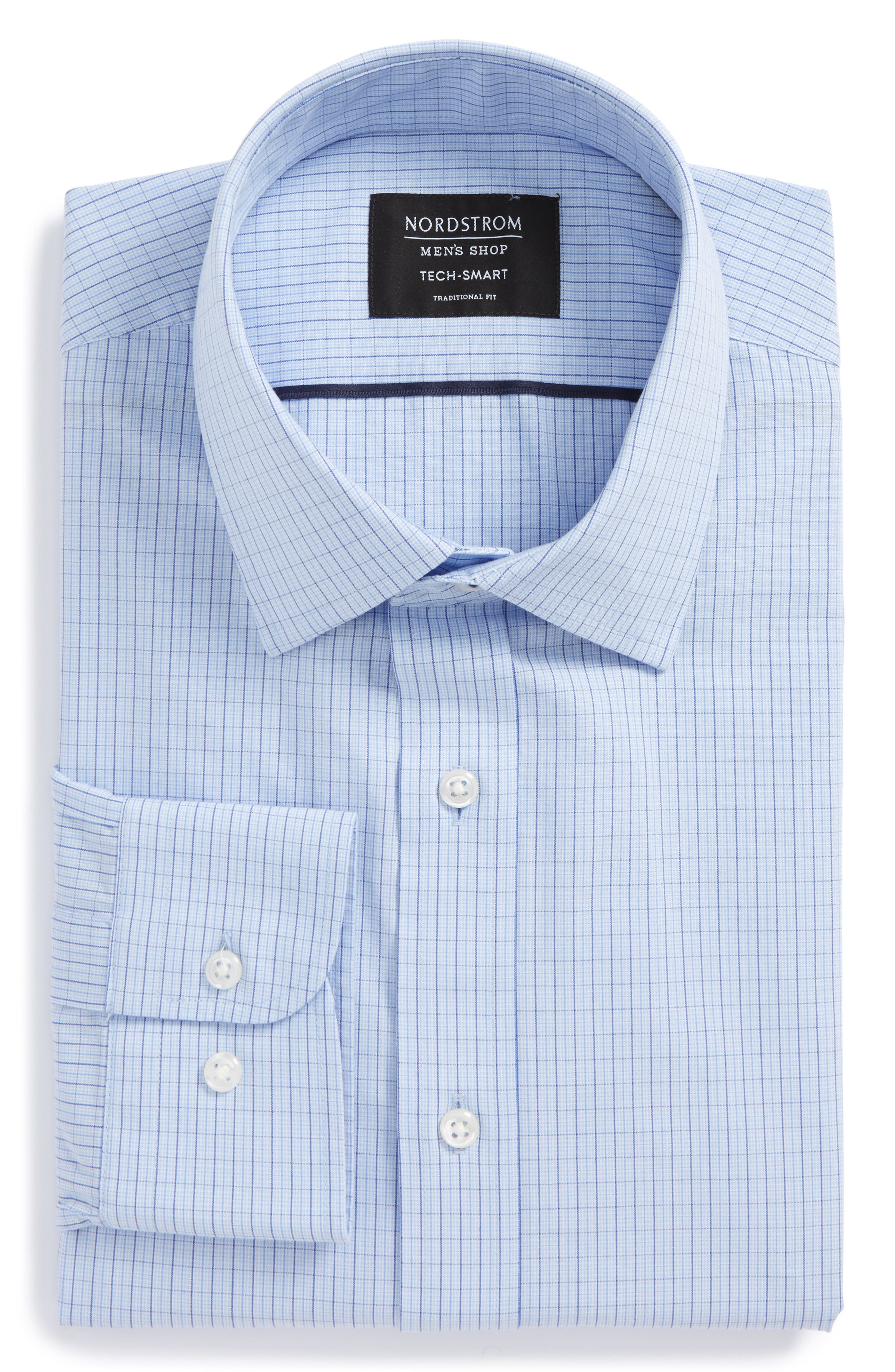 Tech-Smart Traditional Fit Stretch Tattersall Dress Shirt,                             Alternate thumbnail 5, color,                             Blue Brunerra