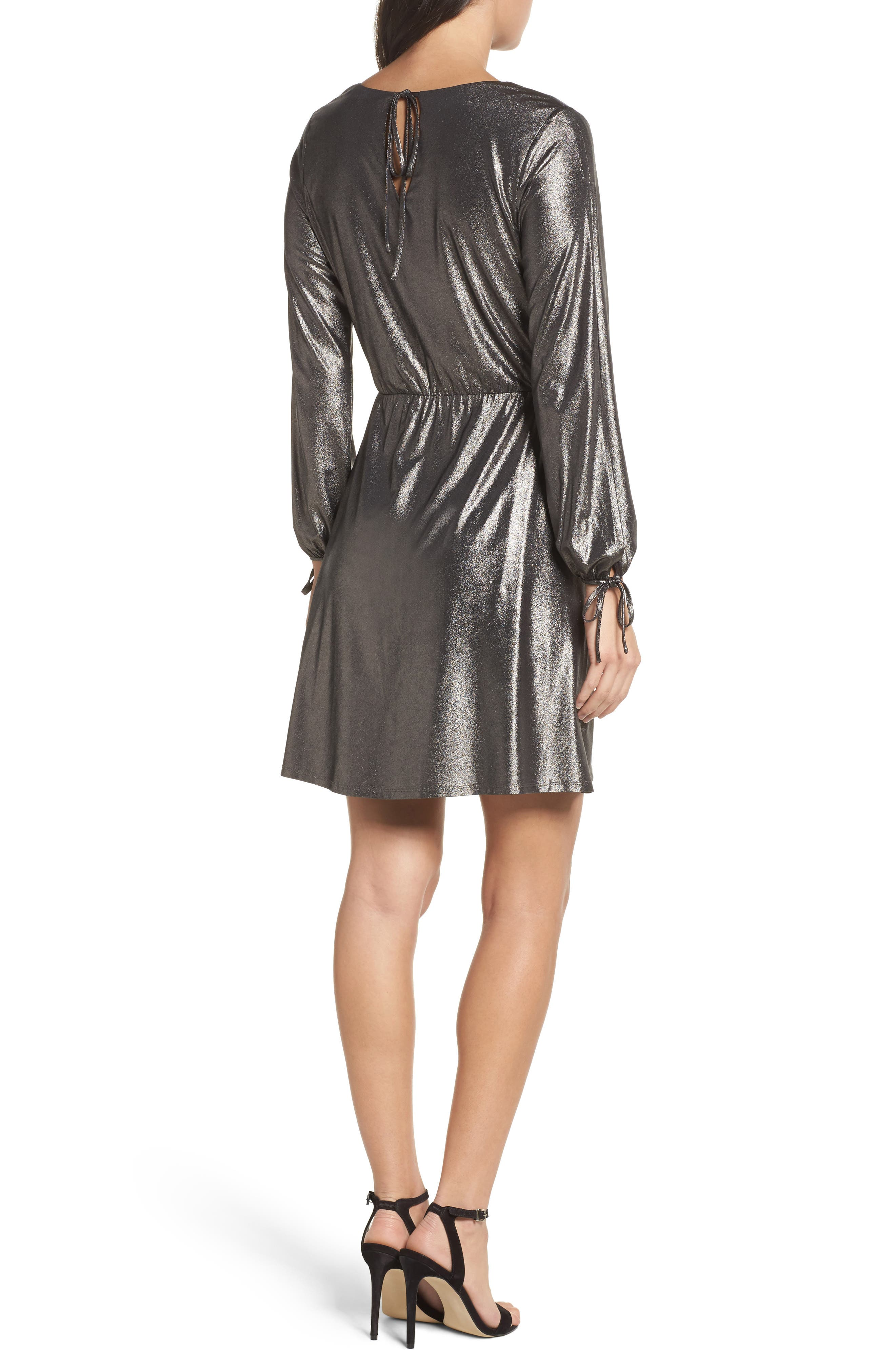 Metallic Faux Wrap Dress,                             Alternate thumbnail 2, color,                             Metallic Grey