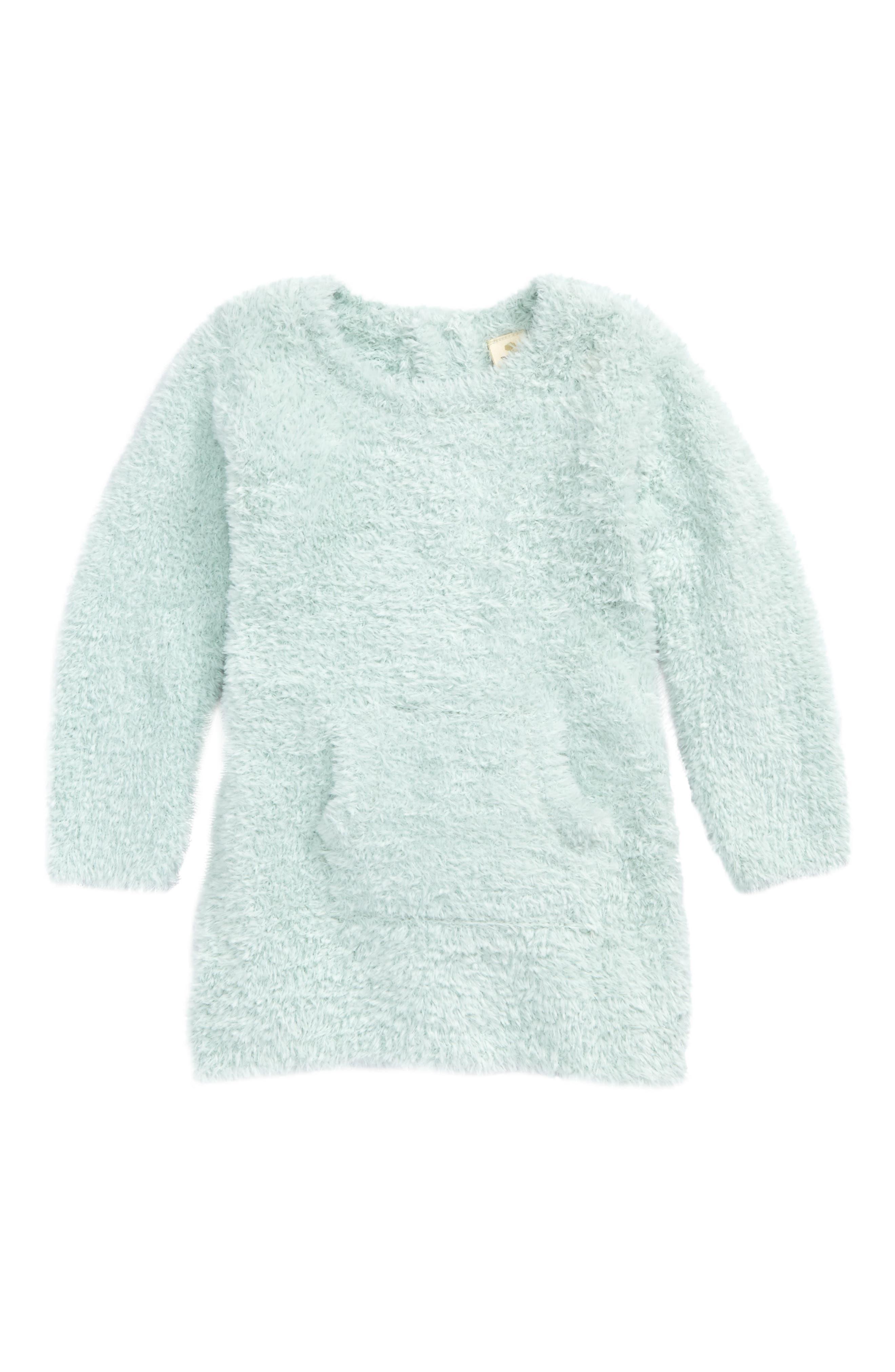 Teddy Yarn Tunic Sweater,                             Main thumbnail 1, color,                             Teal Surf