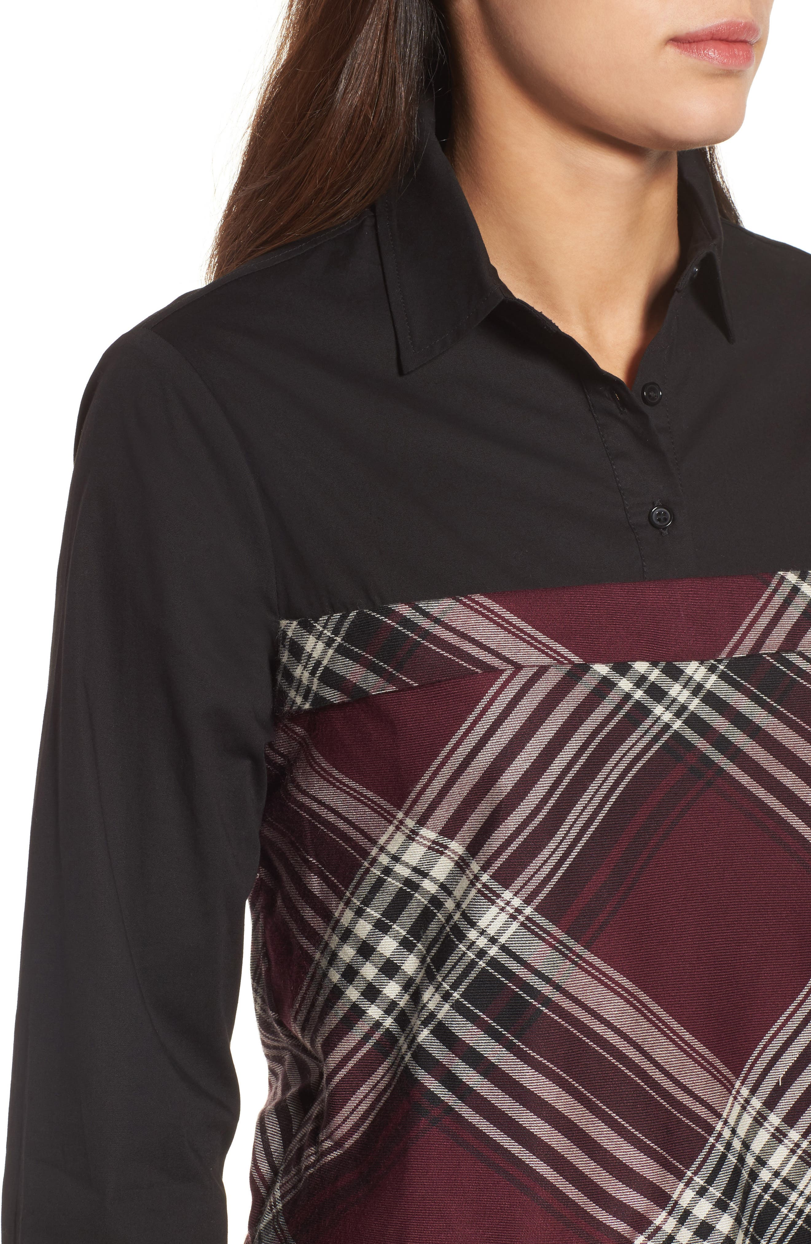 Plaid Corset Shirt,                             Alternate thumbnail 4, color,                             Wine/ Black Plaid/ Black