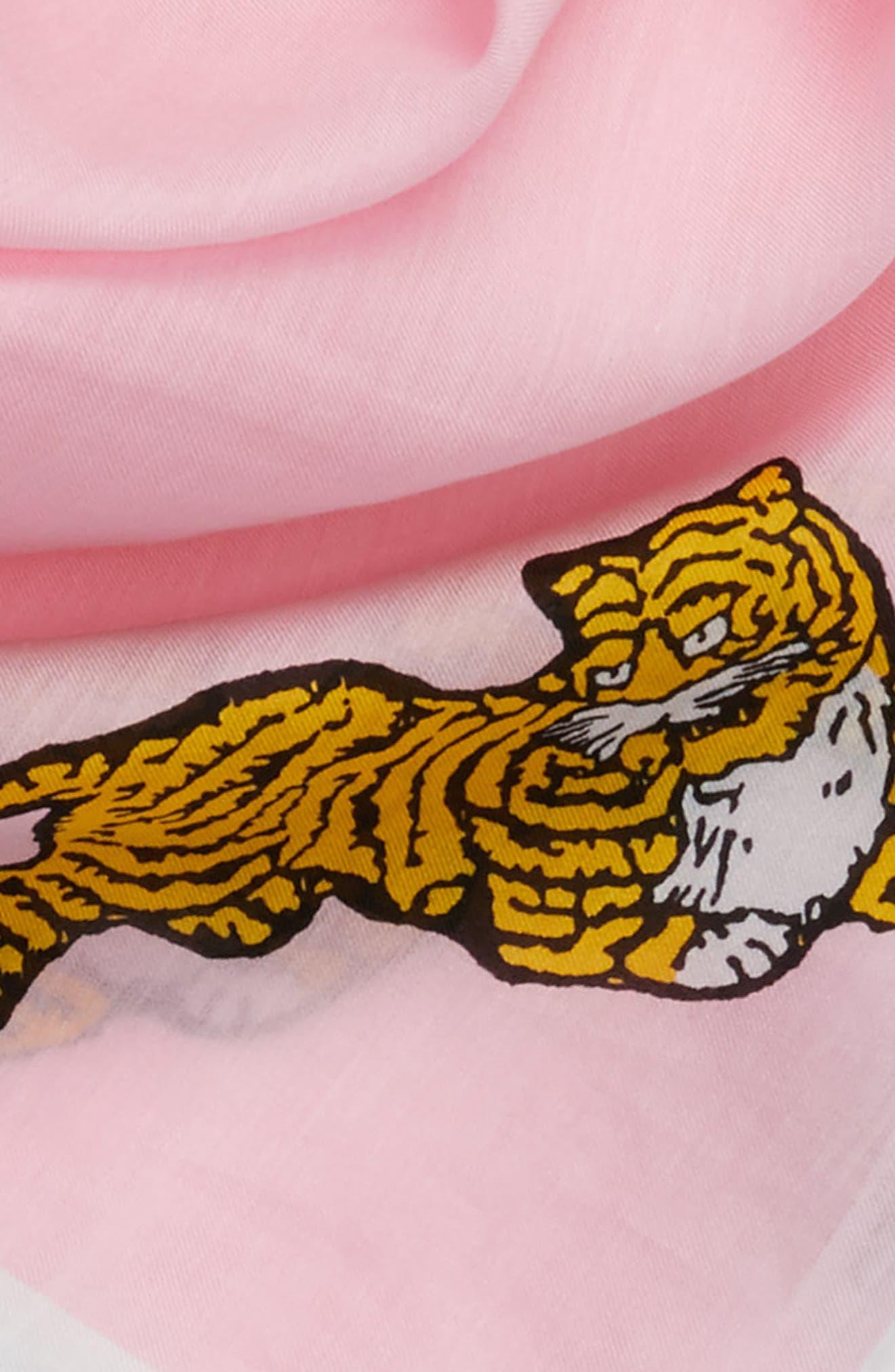 Walking Tiger Bandana Cotton & Silk Scarf,                             Alternate thumbnail 4, color,                             Faded Pink