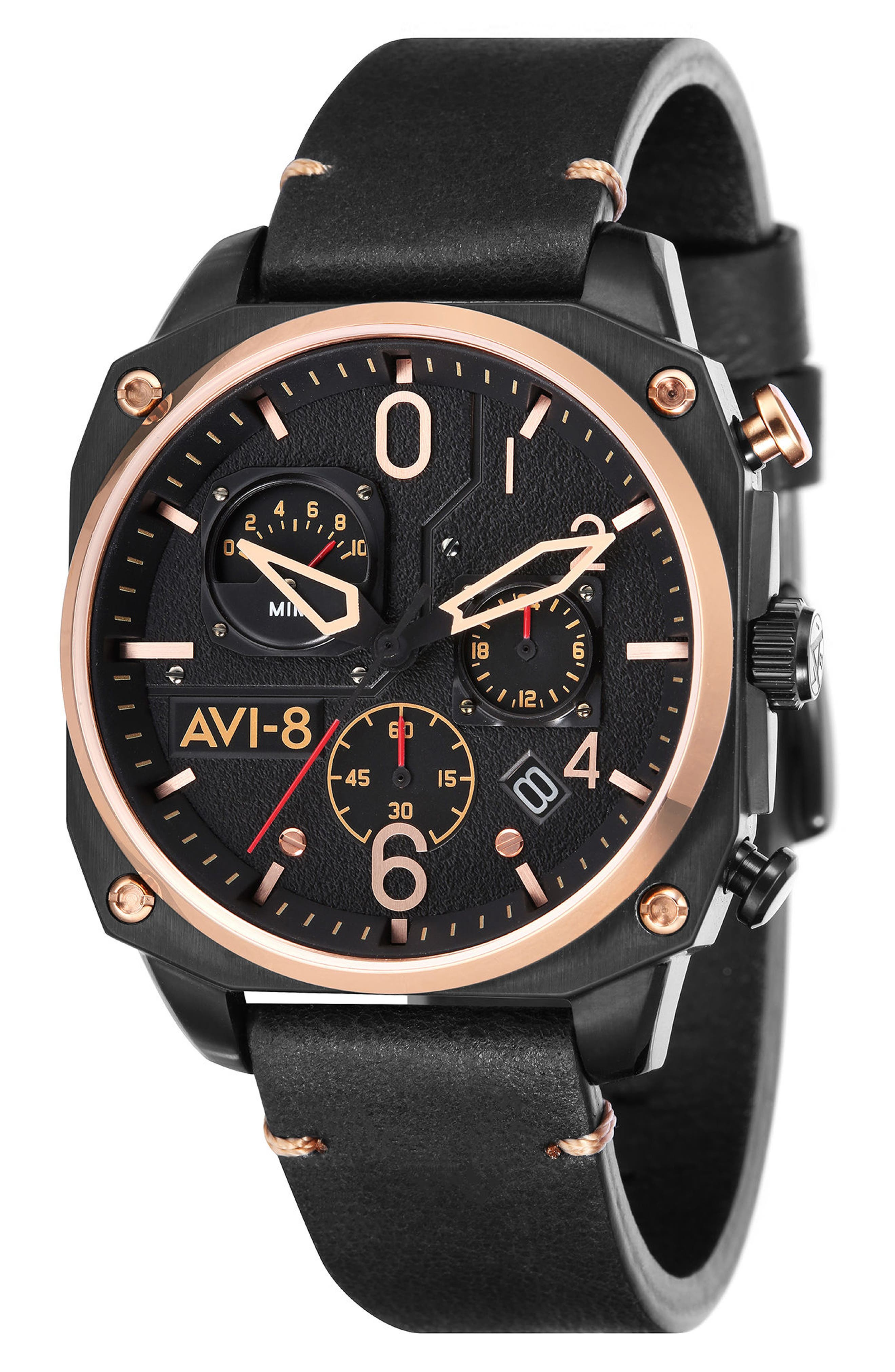 Hawker Hunter Chronograph Leather Strap Watch, 45mm,                         Main,                         color, Black/ Rose Gold/ Black