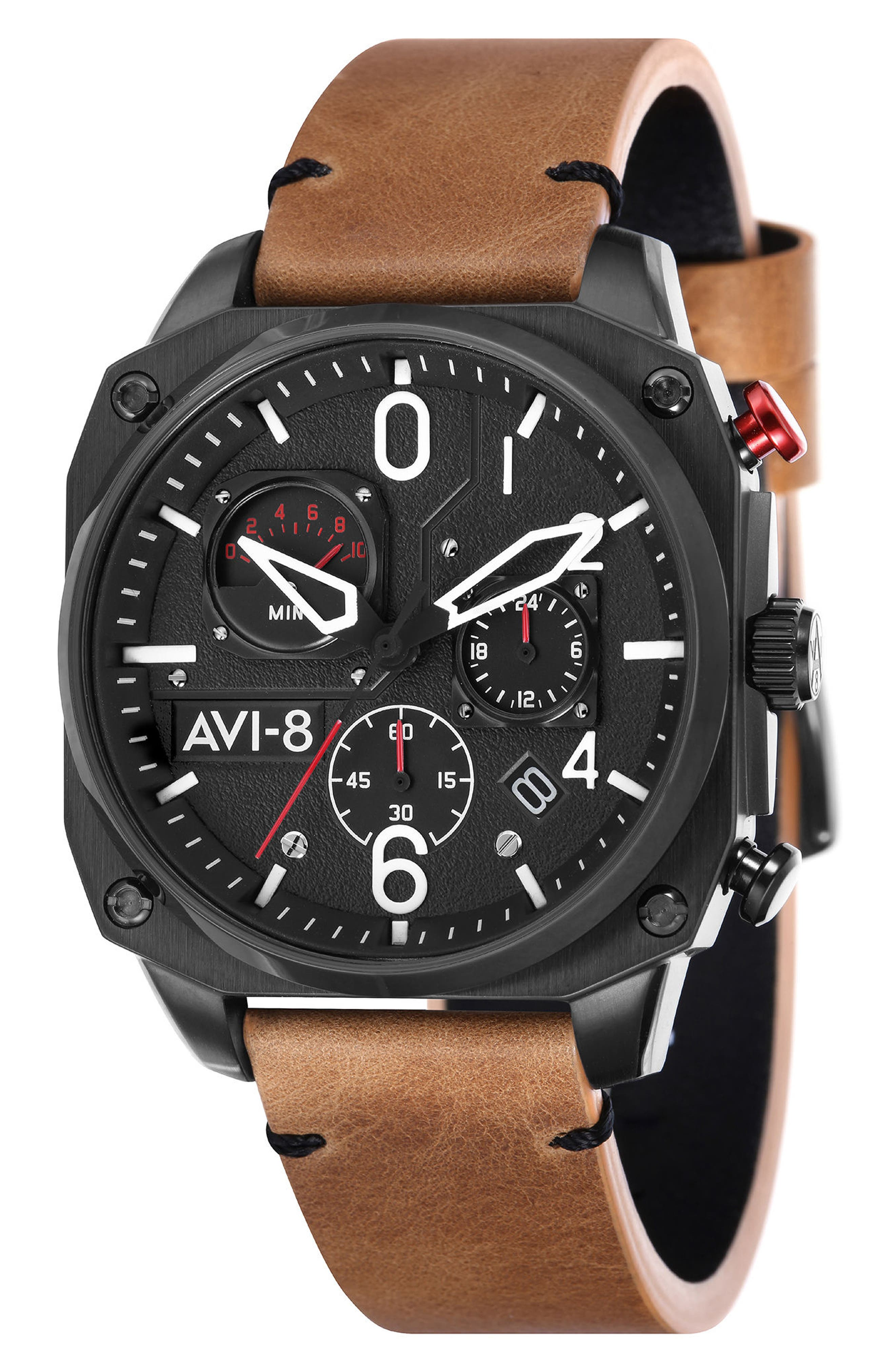 Hawker Hunter Chronograph Leather Strap Watch, 45mm,                         Main,                         color, Black/ Tan