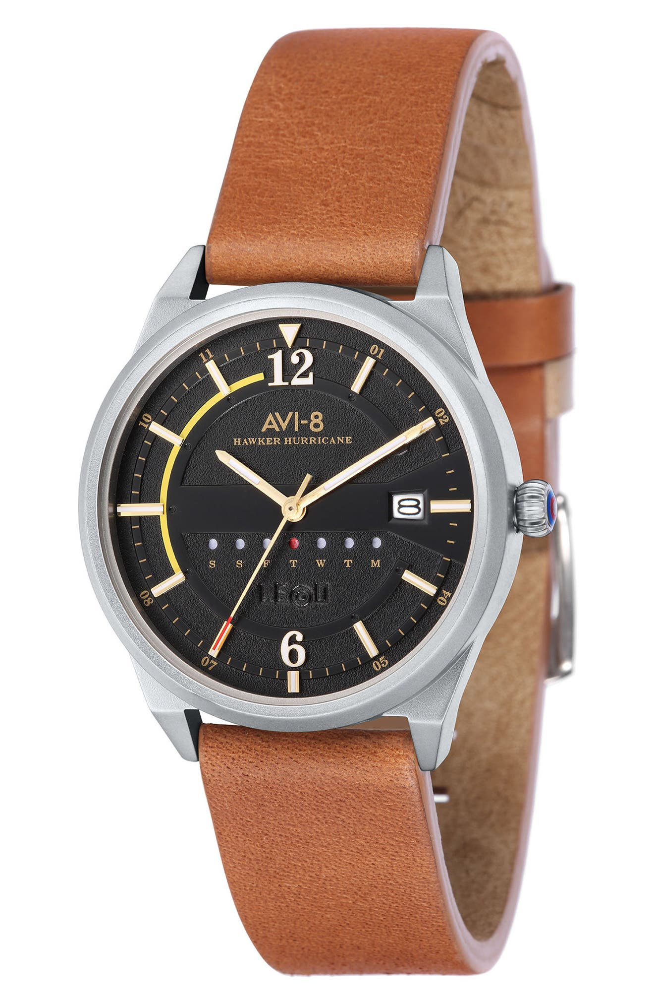 Hawker Hurricane Leather Strap Watch, 38mm,                         Main,                         color, Black/ Brown