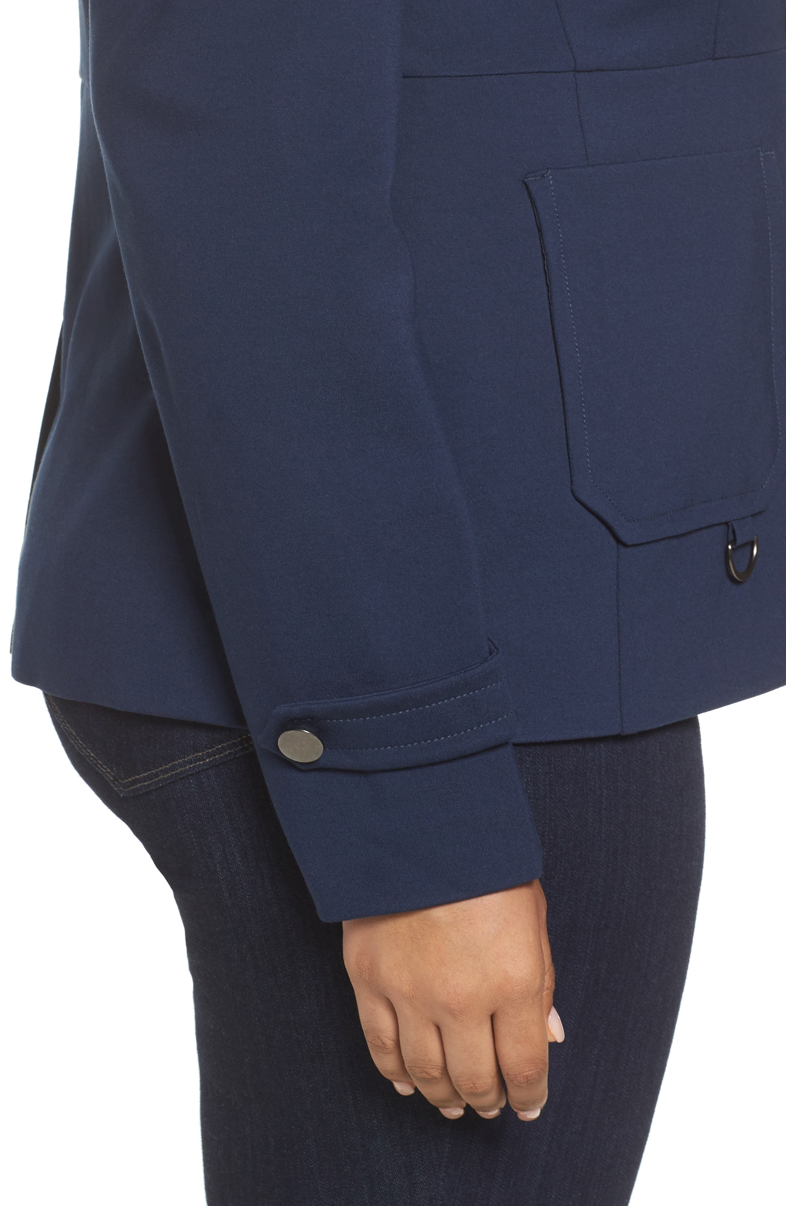 Fitted Utility Jacket,                             Alternate thumbnail 4, color,                             Navy Iris