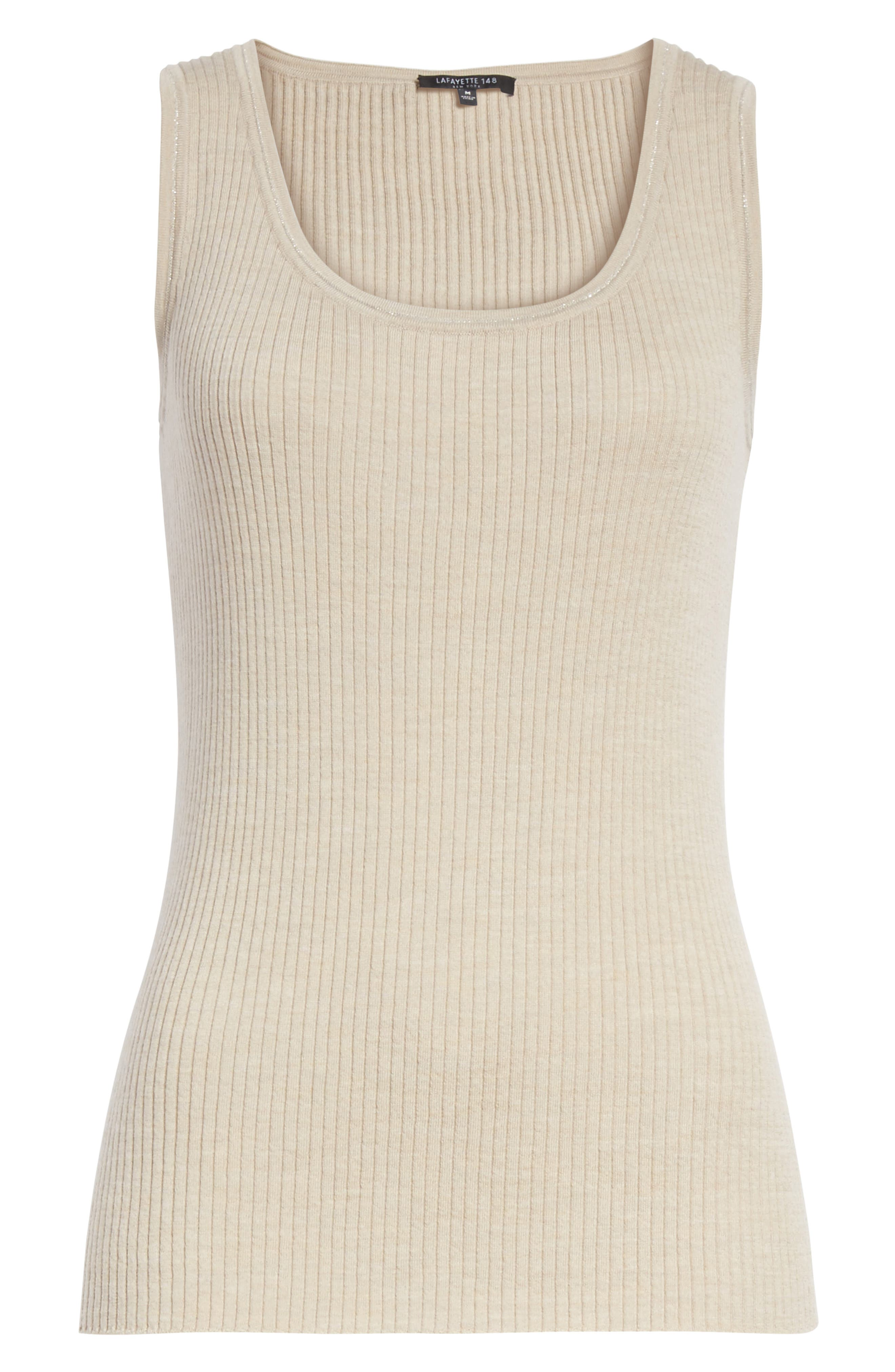 Metallic Trim Modern Ribbed Tank,                             Alternate thumbnail 6, color,                             Luxor Melange