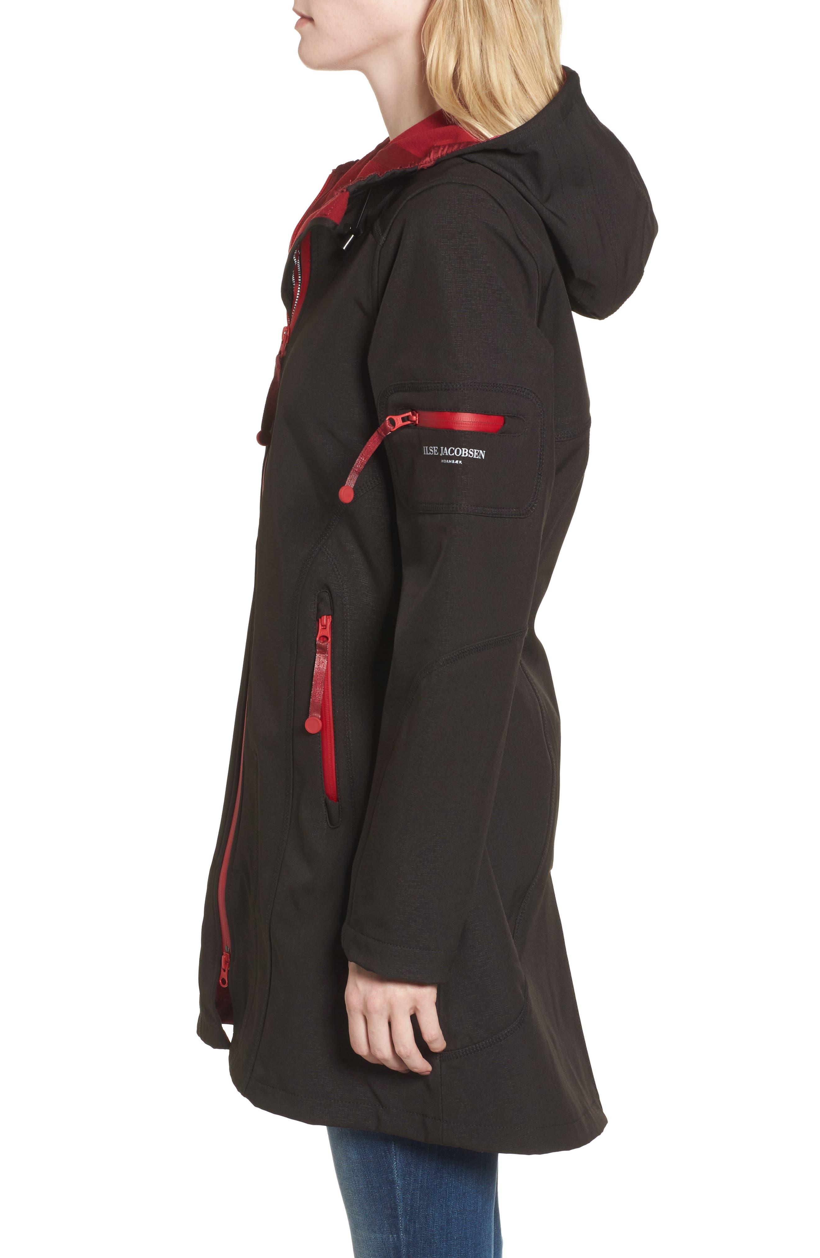 'Rain 7B' Hooded Water Resistant Coat,                             Alternate thumbnail 4, color,                             Black/ Wine