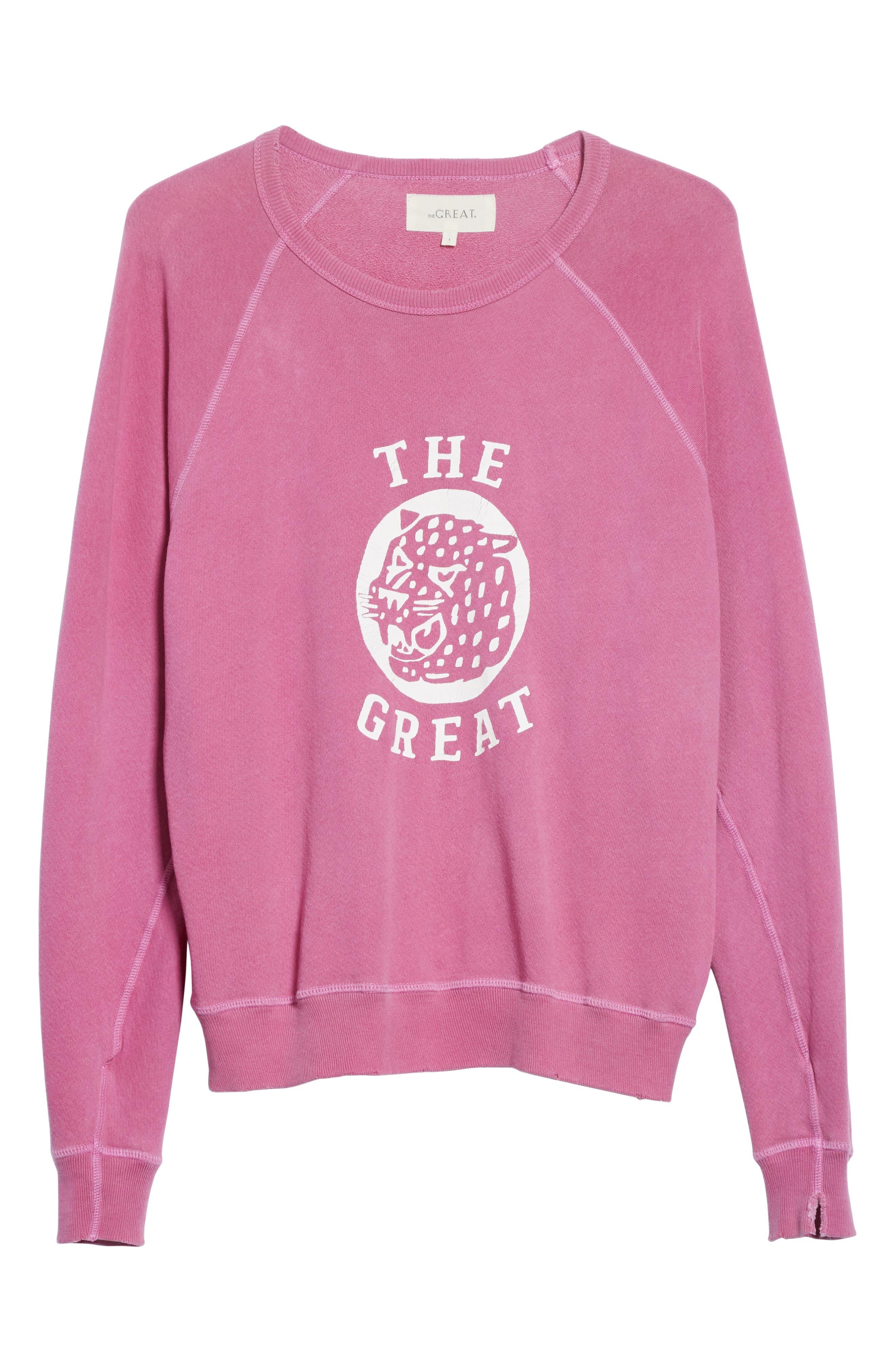The College Sweatshirt,                             Alternate thumbnail 6, color,                             Thistle W/ Jaguar Graphic