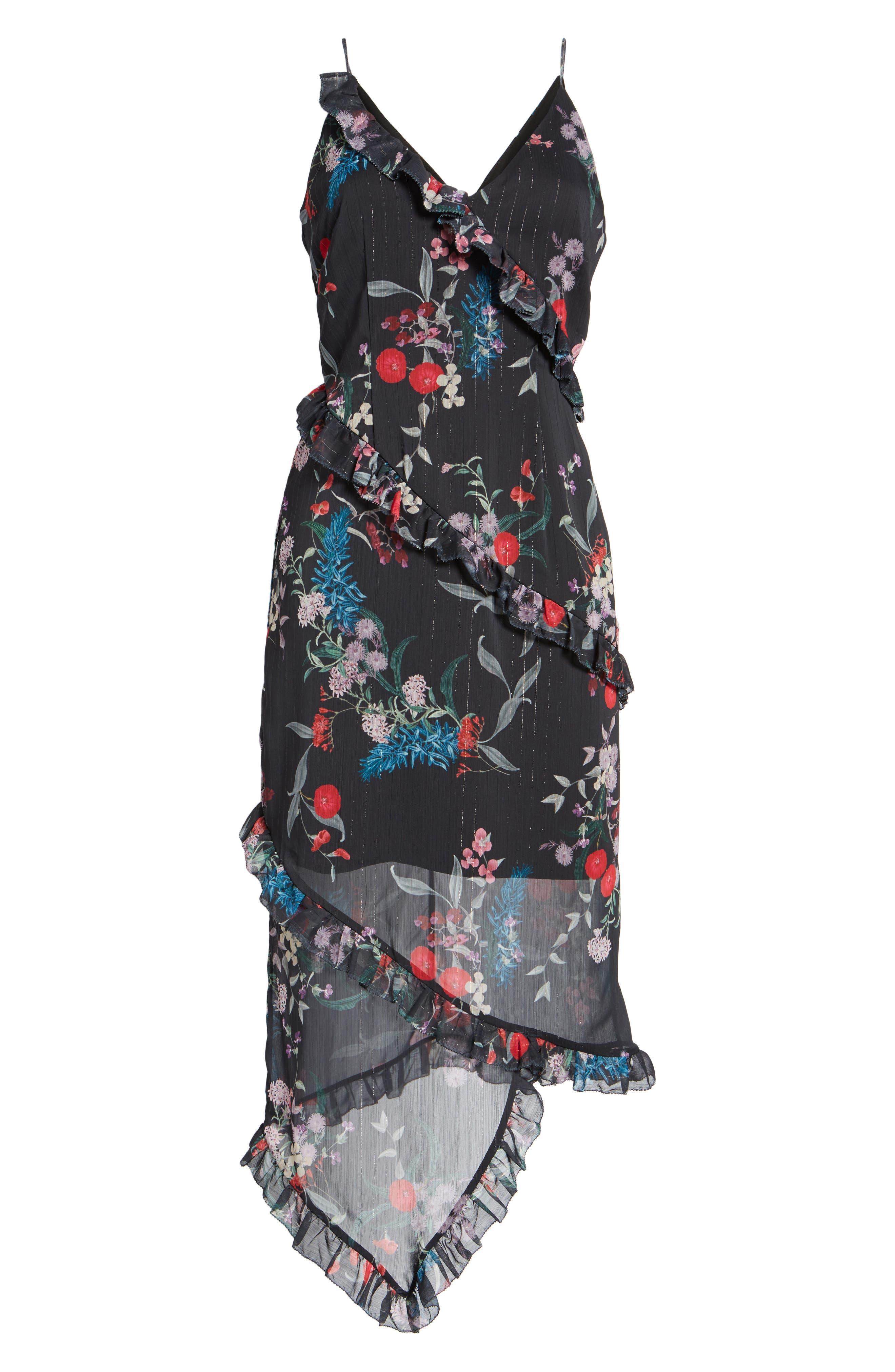 Ruffle Chiffon Midi Dress,                             Alternate thumbnail 7, color,                             Black Botanic Floral