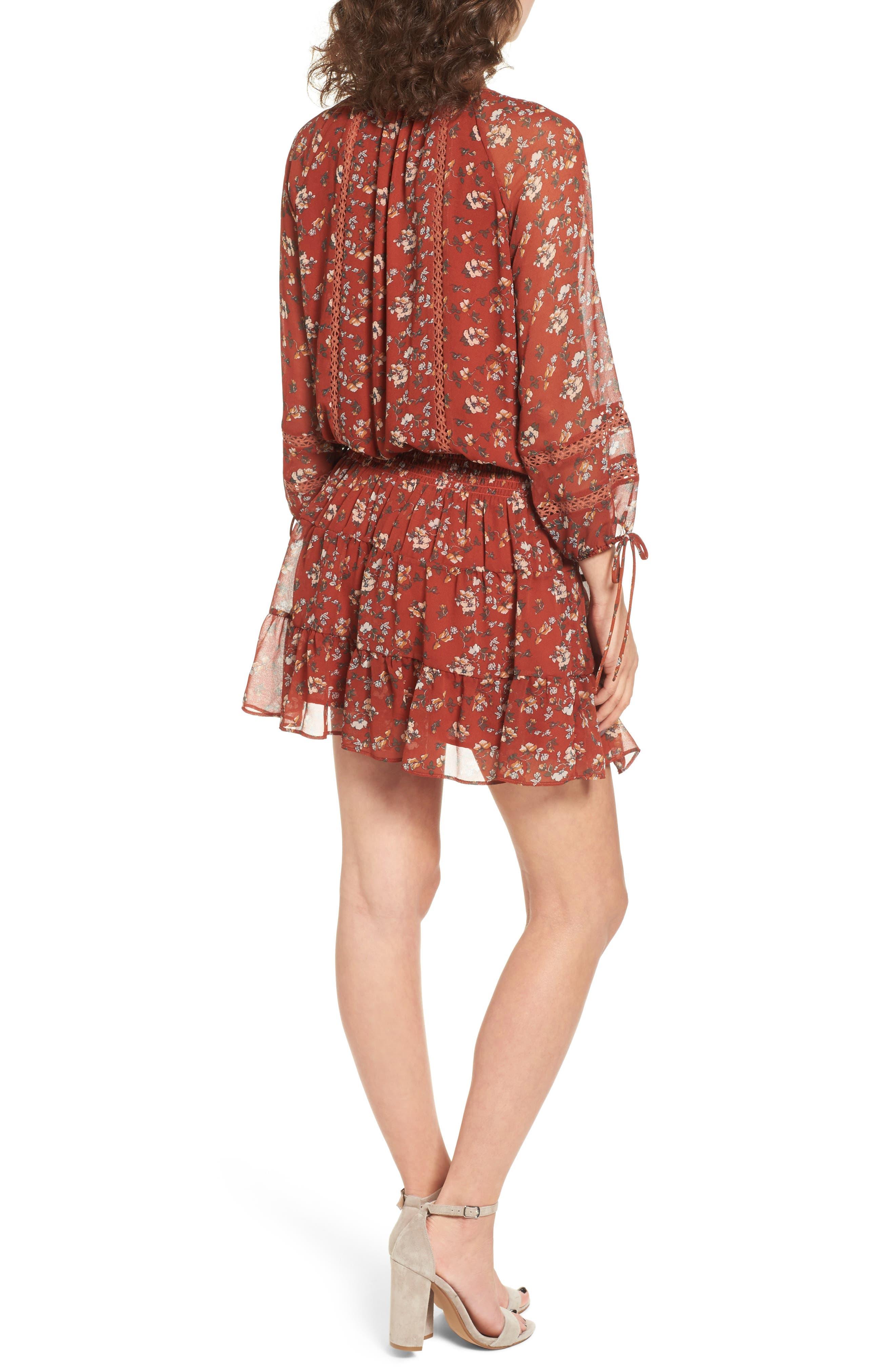 Le Marais Floral Print Dress,                             Alternate thumbnail 2, color,                             Rust