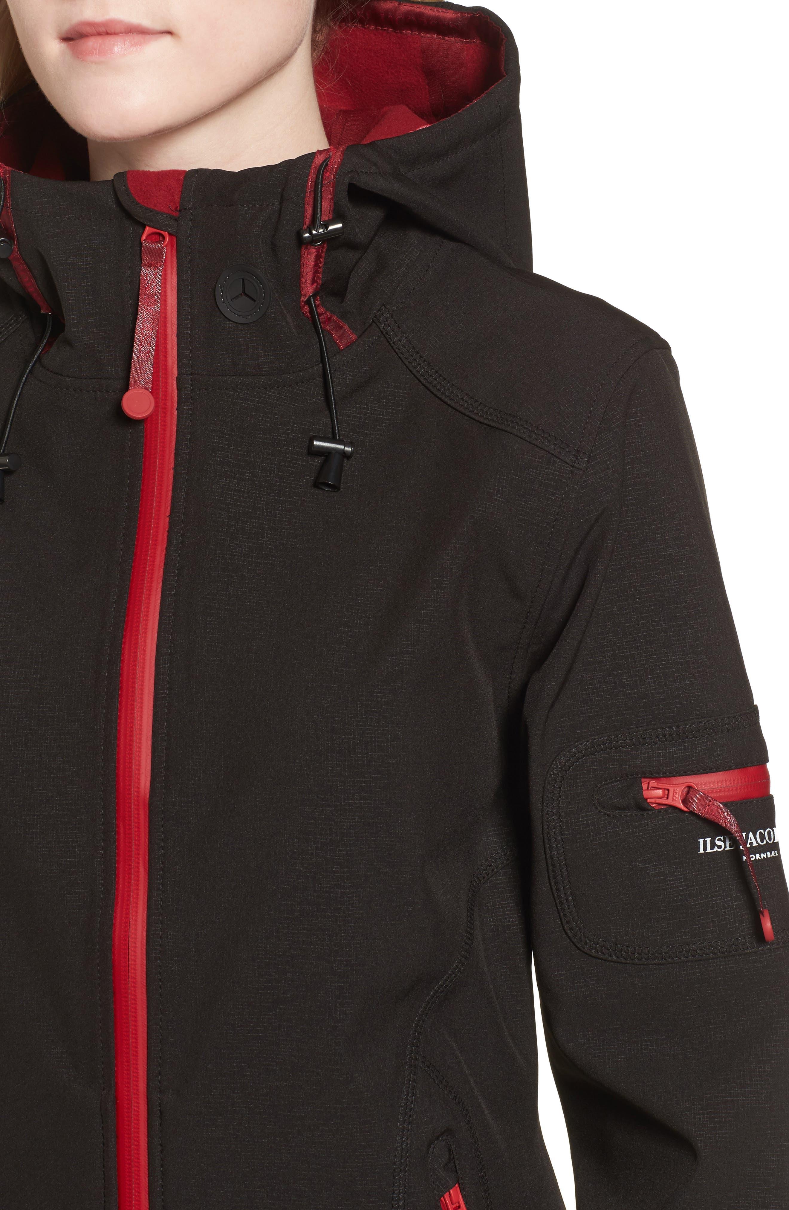 'Rain 7B' Hooded Water Resistant Coat,                             Alternate thumbnail 5, color,                             Black/ Wine