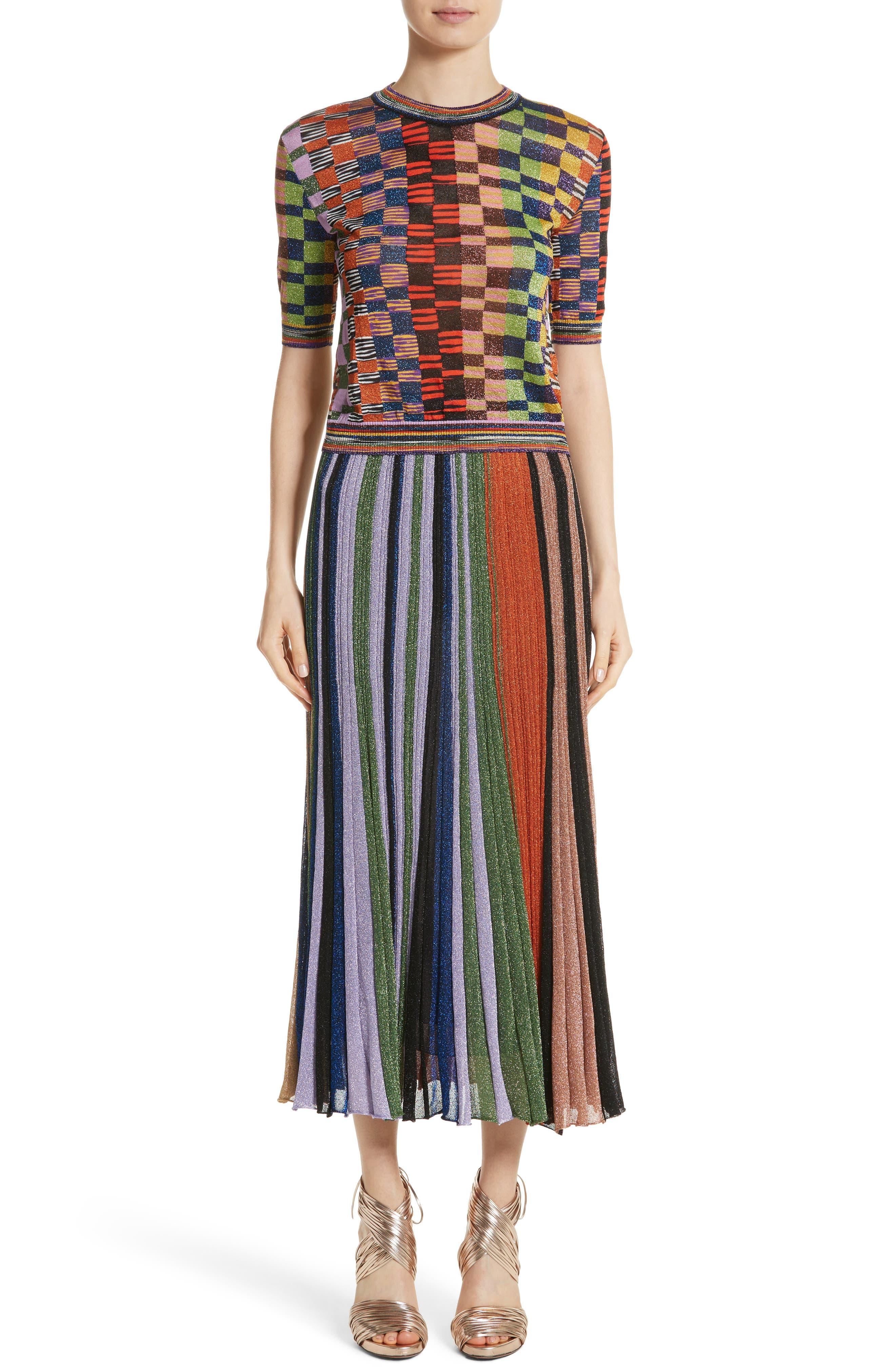 Metallic Stripe Knit Midi Skirt,                             Alternate thumbnail 7, color,                             Orange