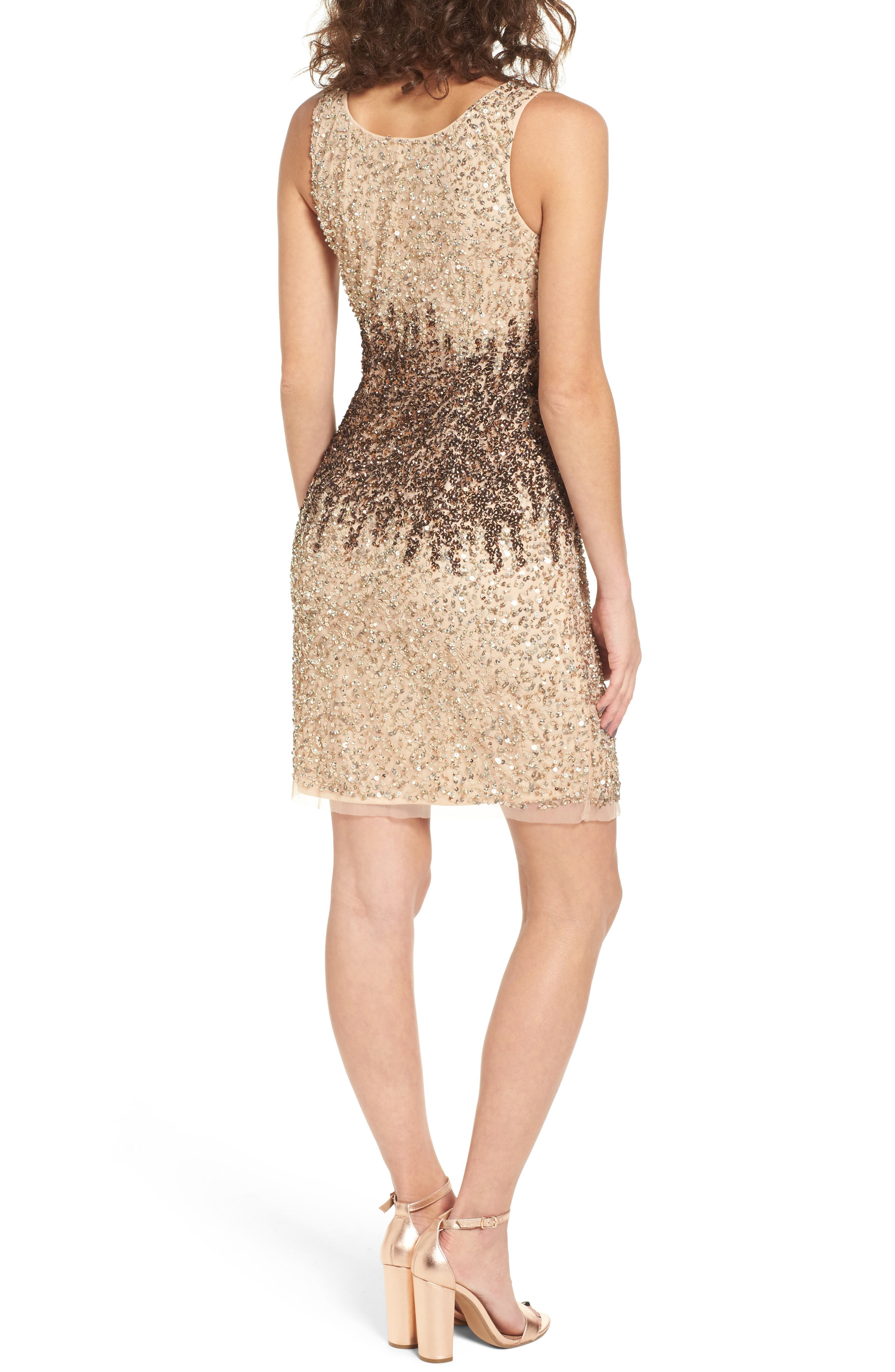 Sequins and Champagne Dress,                             Alternate thumbnail 2, color,                             Beige