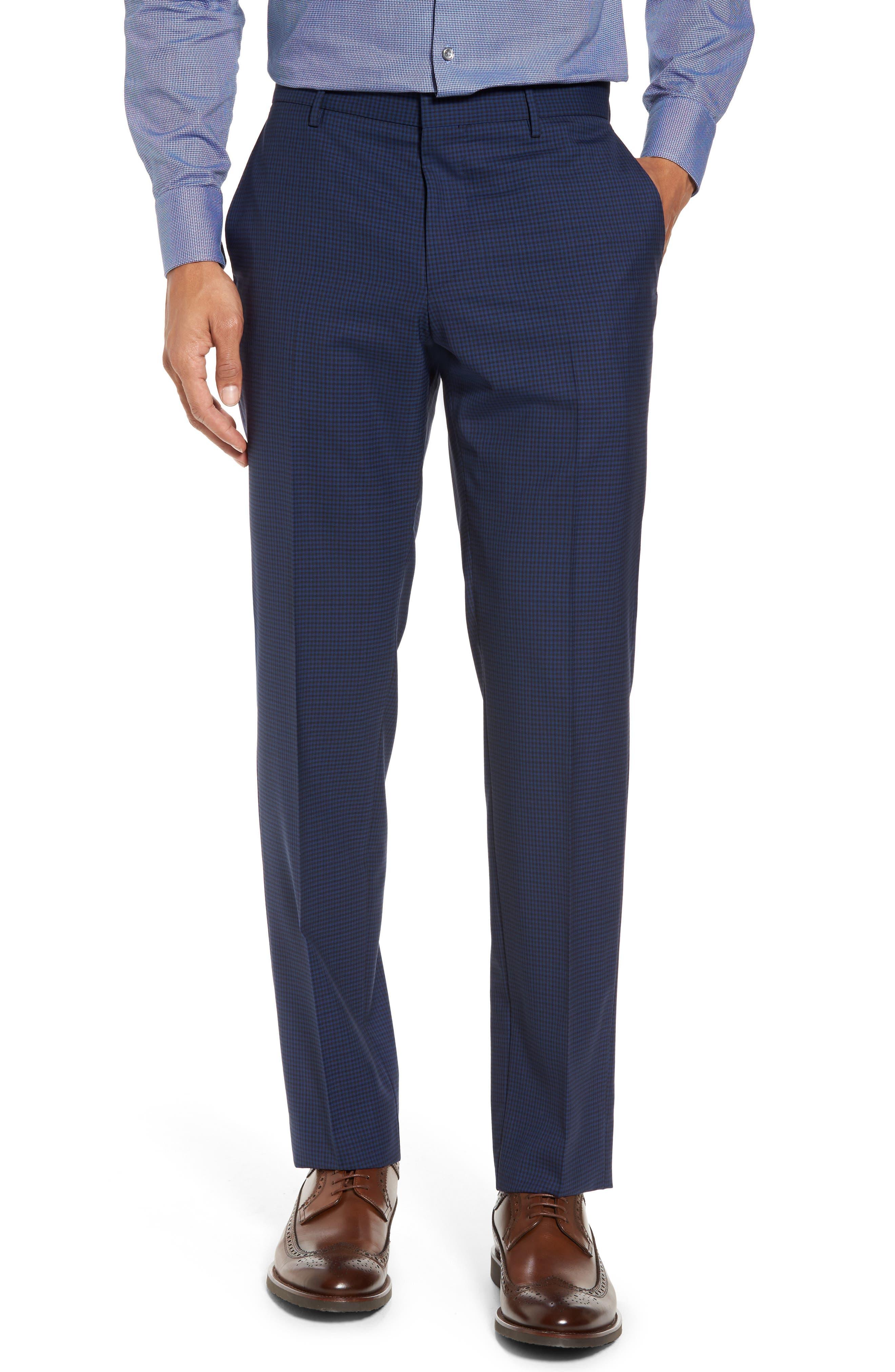 Novan/Ben Trim Fit Check Wool Suit,                             Alternate thumbnail 6, color,                             Dark Blue