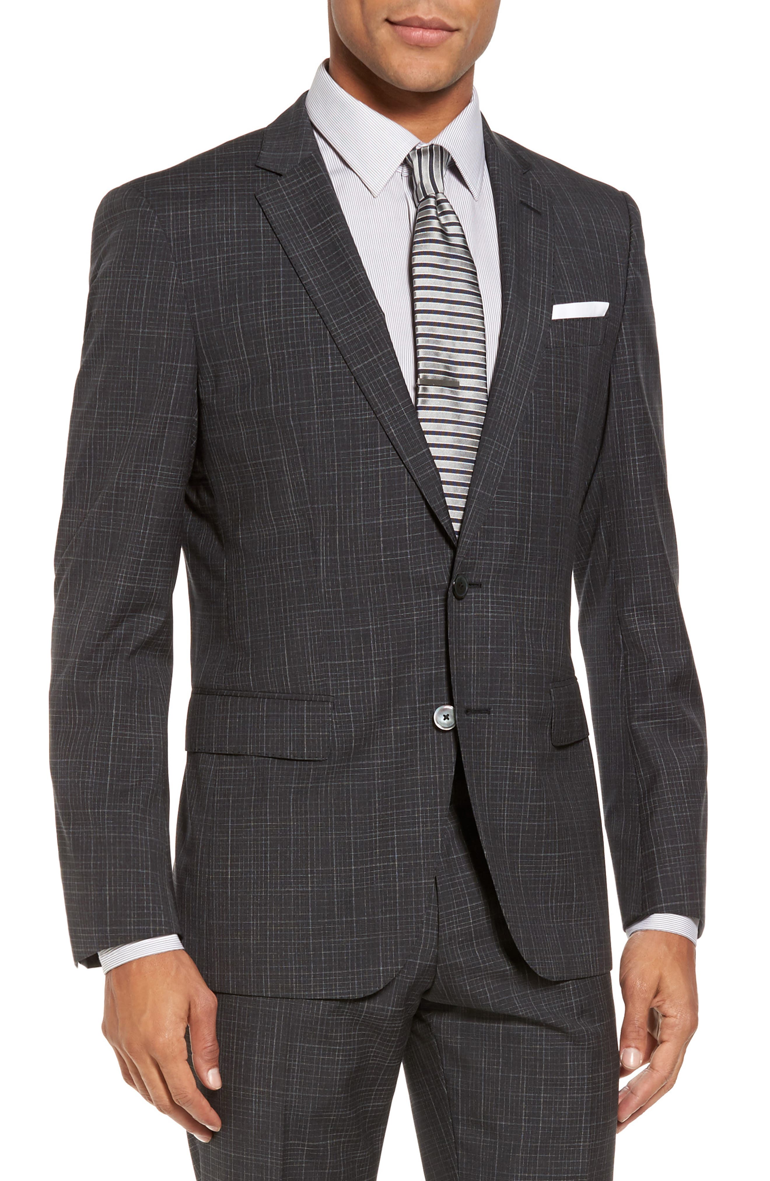 Hutson/Gander Trim Fit Plaid Wool Suit,                             Alternate thumbnail 5, color,                             Open Grey