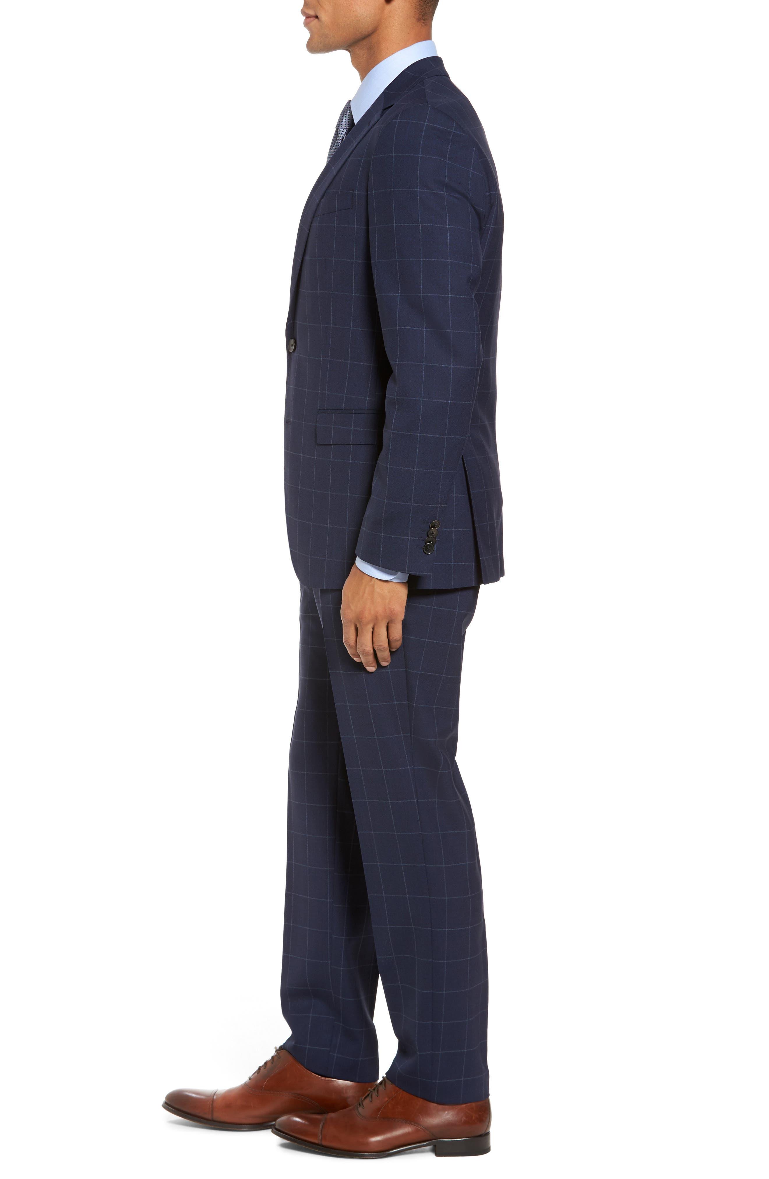 Huge/Genius Trim Fit Three Piece Windowpane Wool Suit,                             Alternate thumbnail 3, color,                             Navy