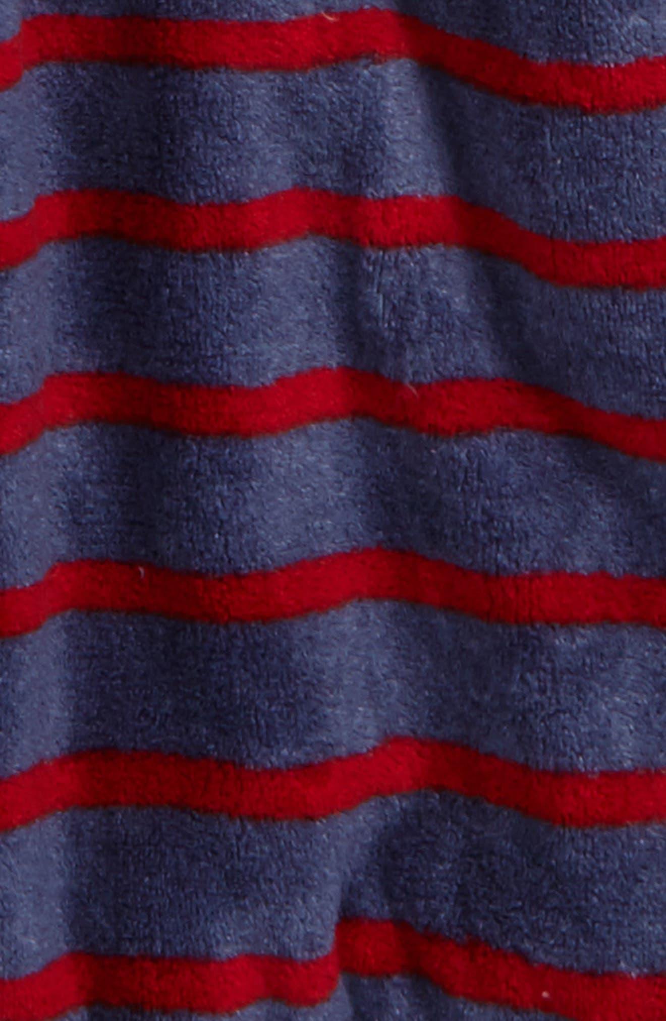 Hooded Plush Robe,                             Alternate thumbnail 2, color,                             Blue Vintage- Red