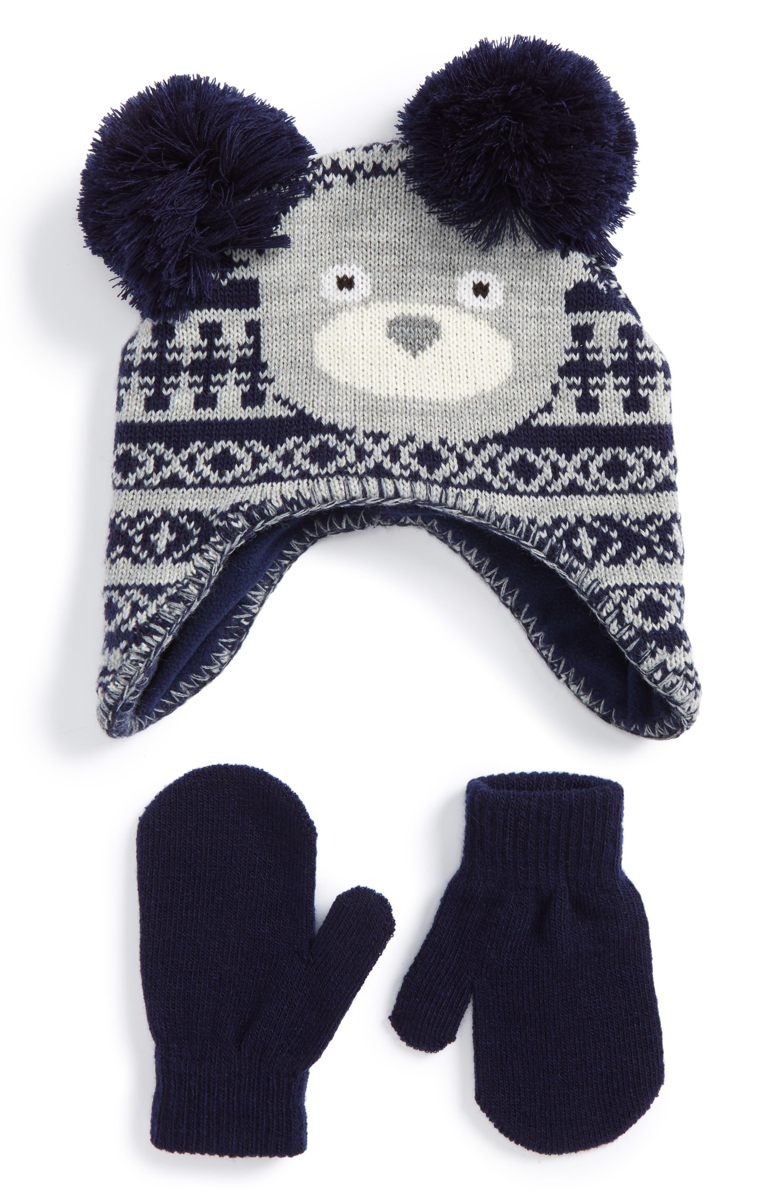 Nolan Glove Pompom Beanie & Mittens Set (Toddler)