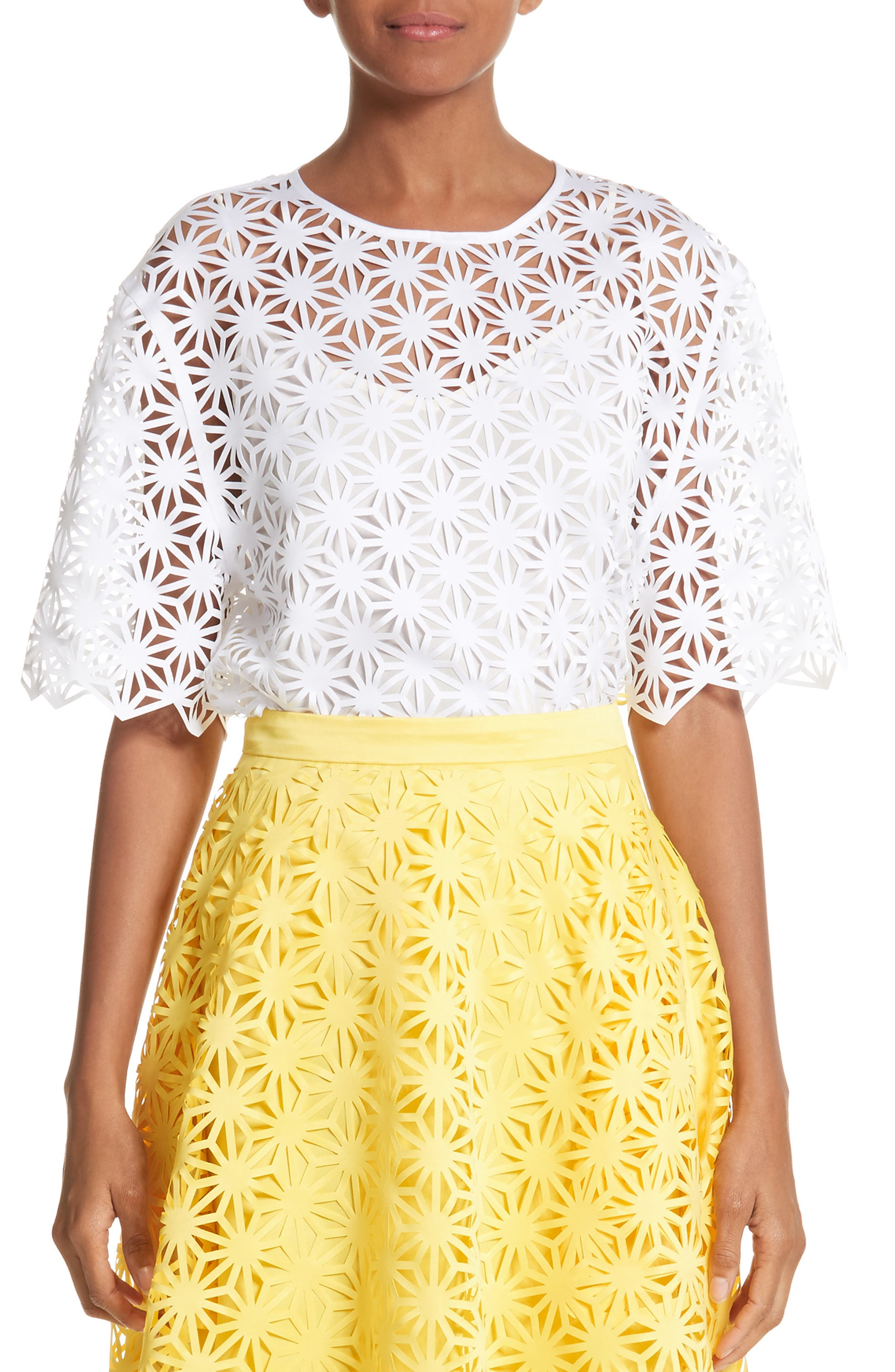 Basic Laser Cut Top,                         Main,                         color, White