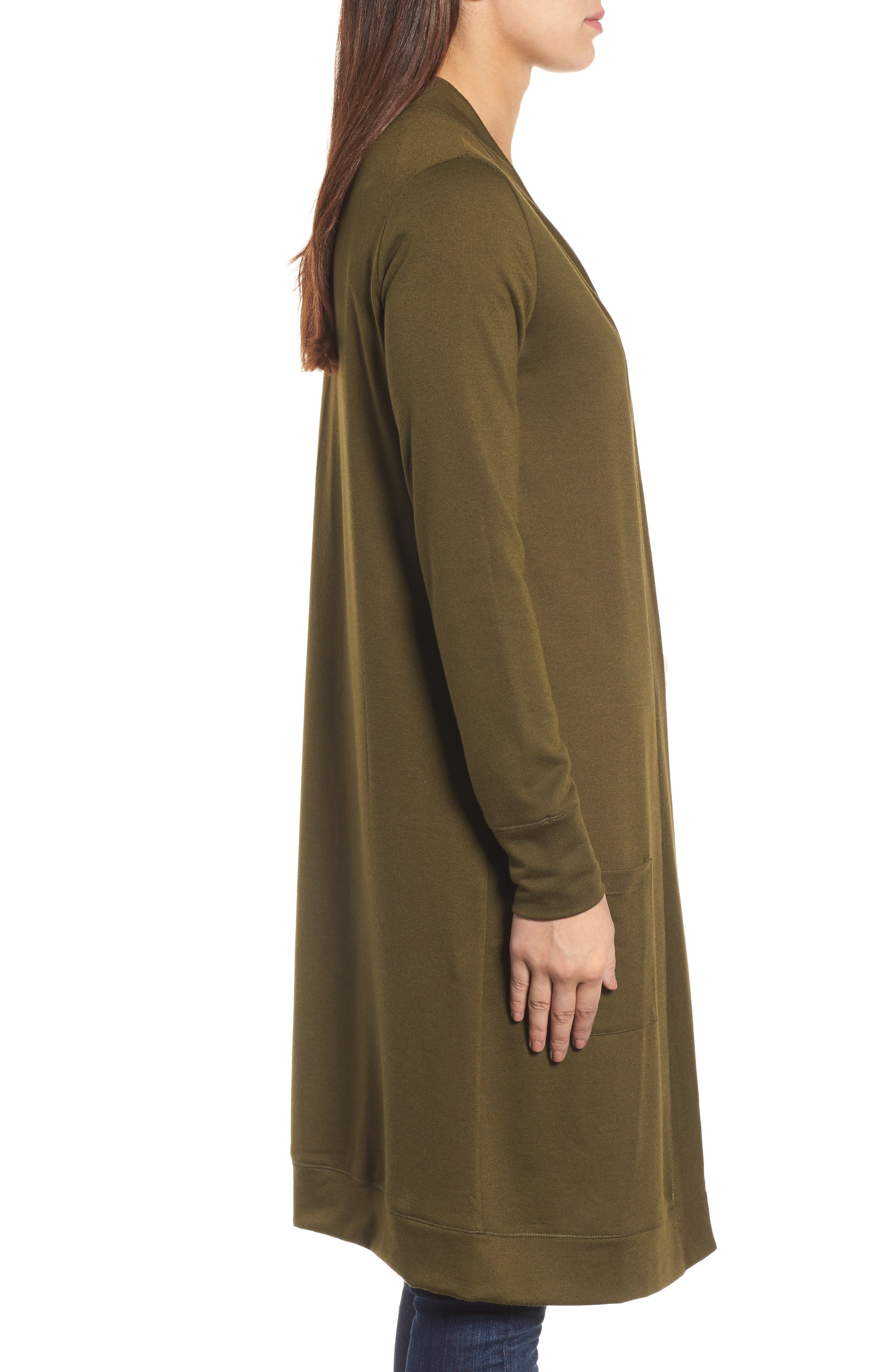 Long French Terry Cardigan,                             Alternate thumbnail 3, color,                             Olive