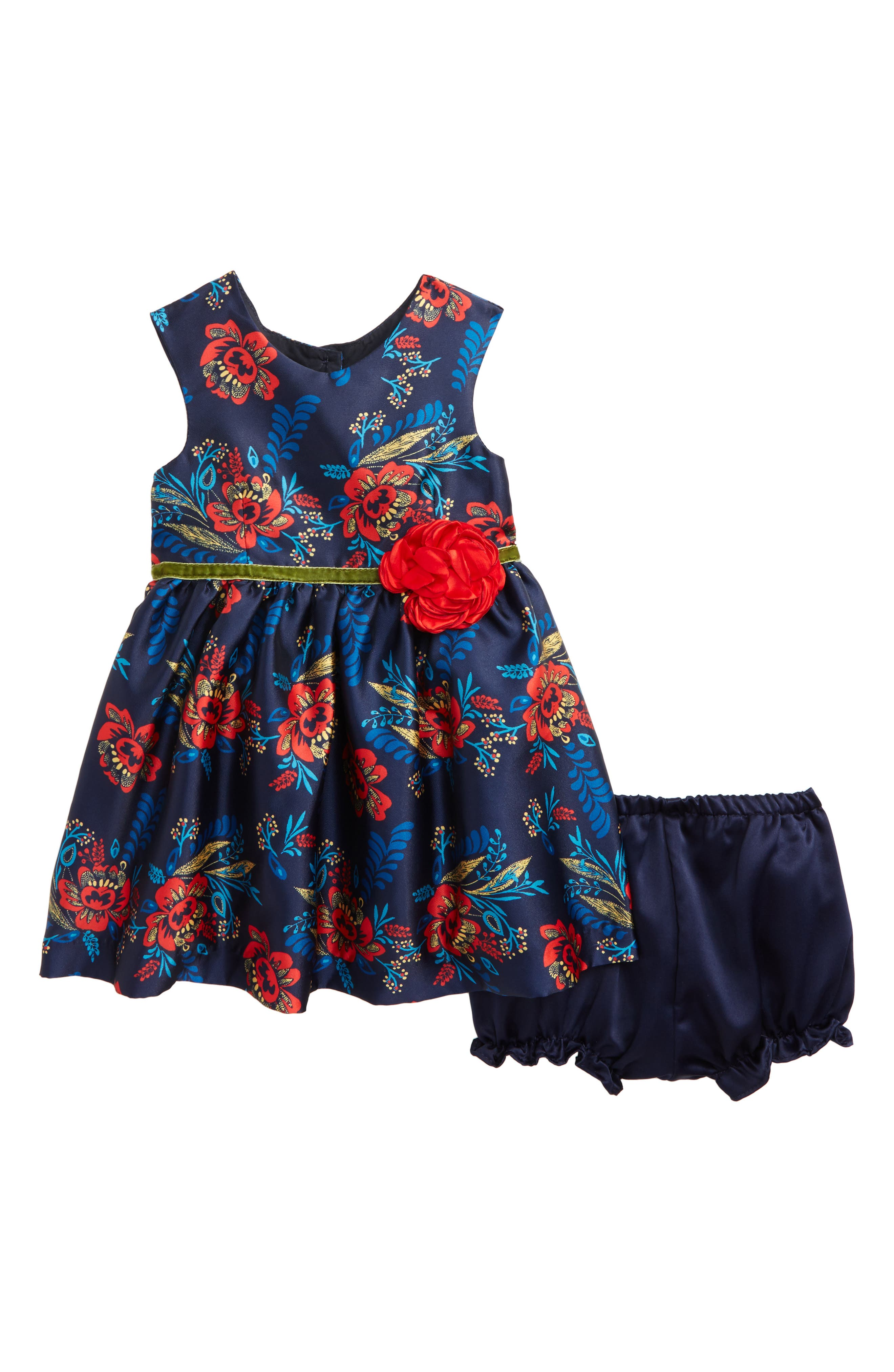 Floral Print Fit & Flare Dress,                         Main,                         color, Navy