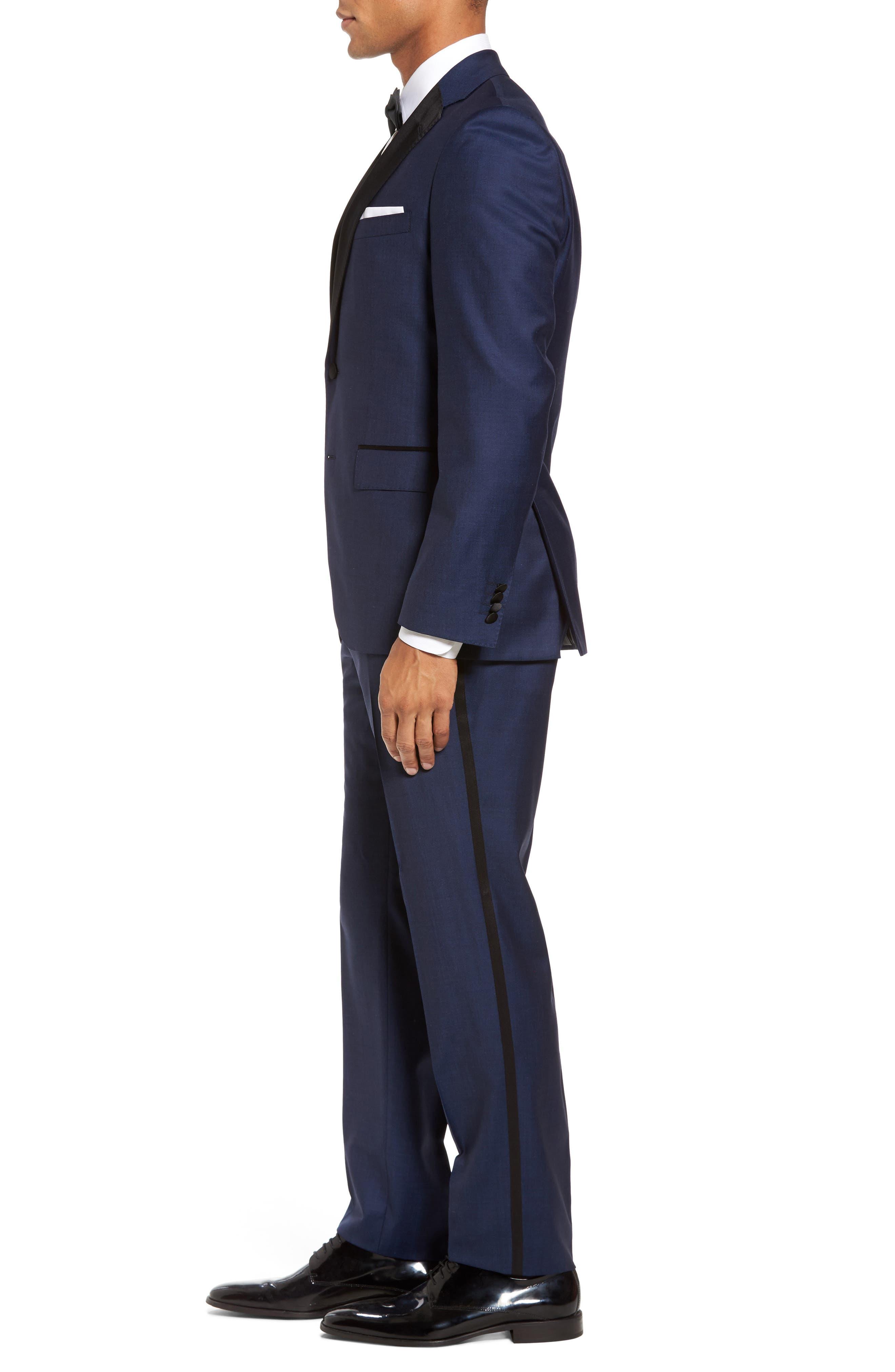 Jelvan/Livan Trim Fit Wool & Silk Tuxedo,                             Alternate thumbnail 3, color,                             Medium Blue