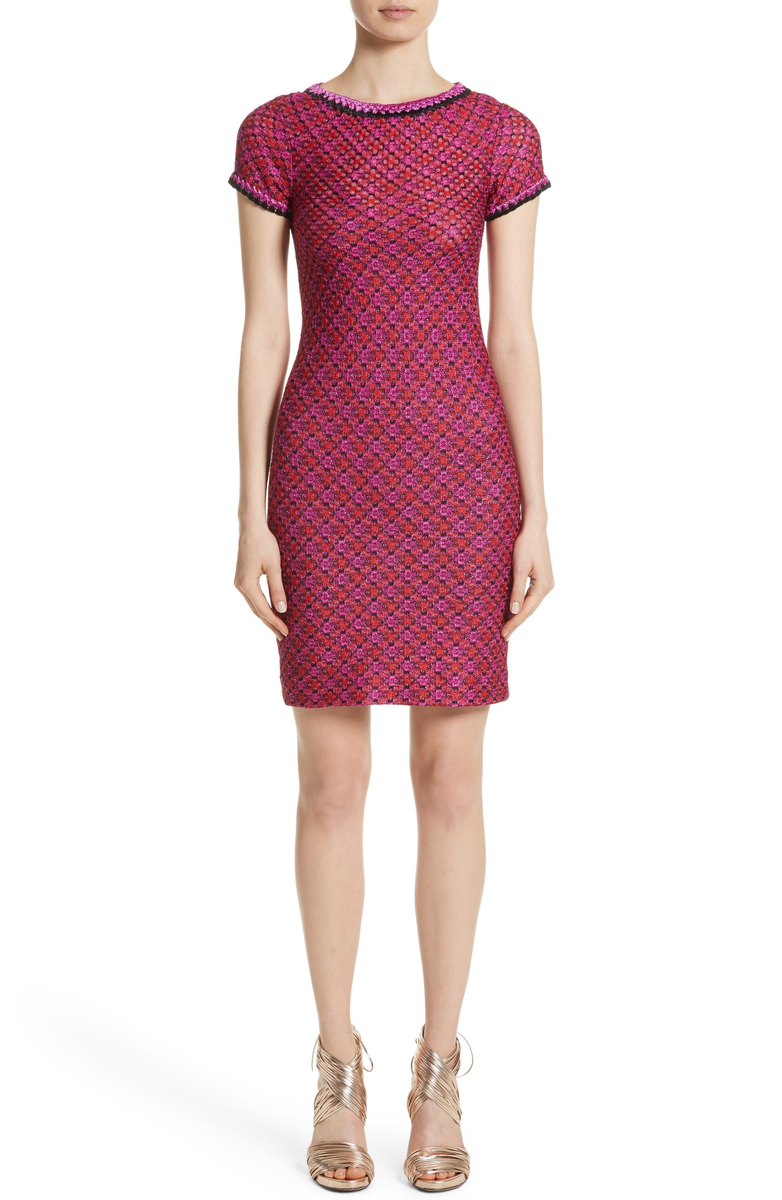 Metallic Zigzag Knit Dress,                         Main,                         color, Pink