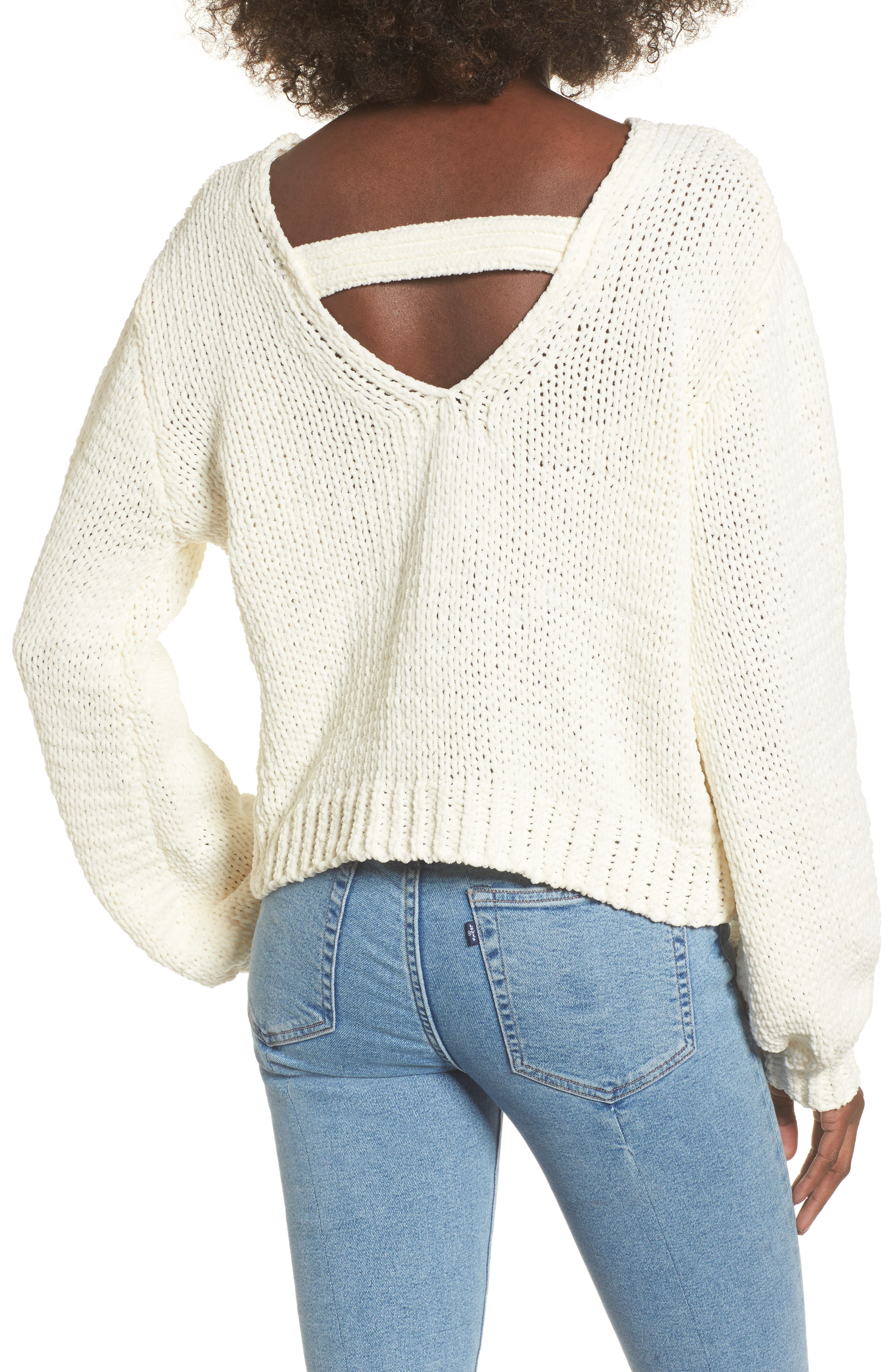 Strappy Sweater,                             Alternate thumbnail 3, color,                             Ivory