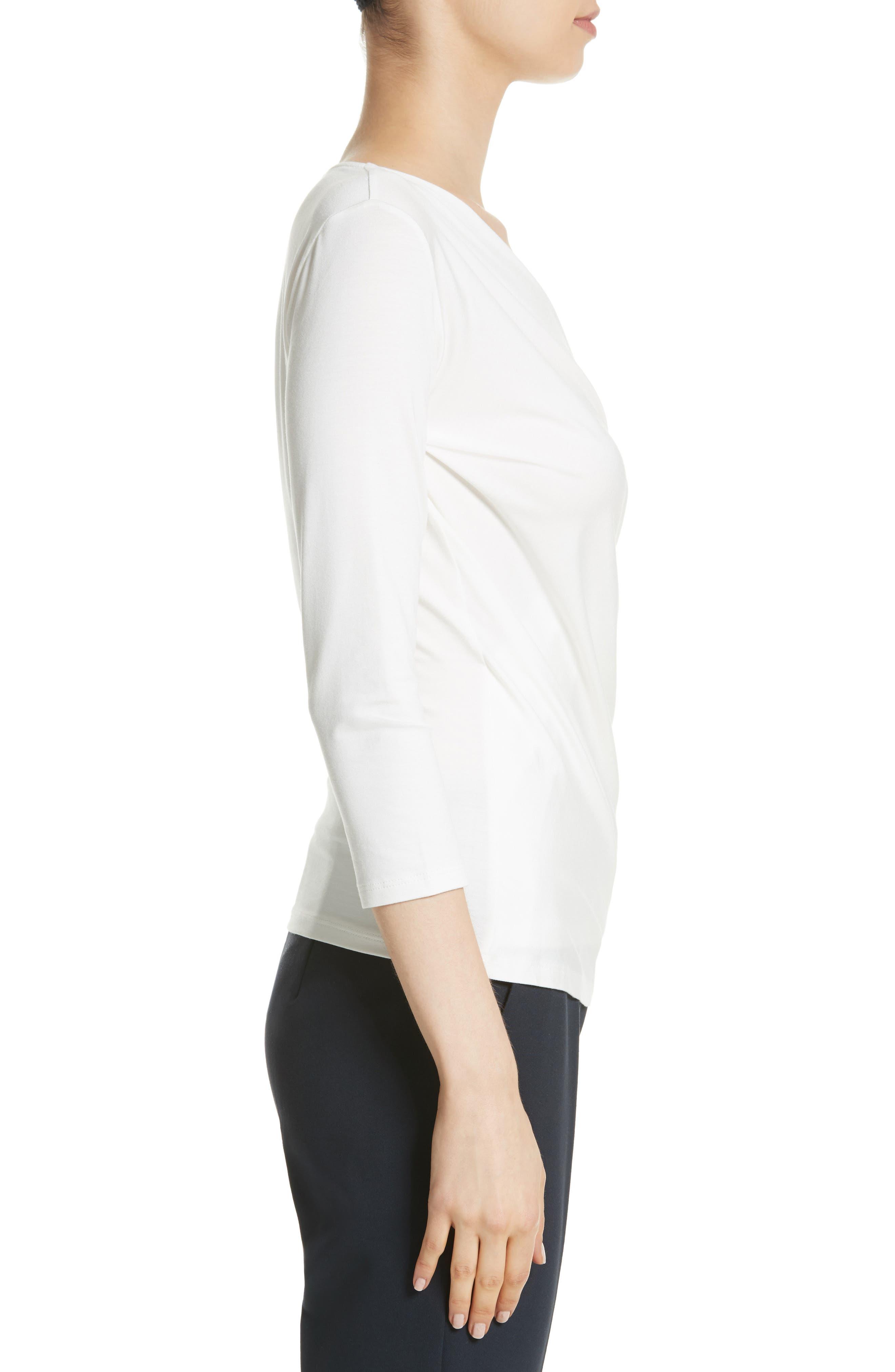 Caprice Faux Wrap Jersey Top,                             Alternate thumbnail 3, color,                             Silk
