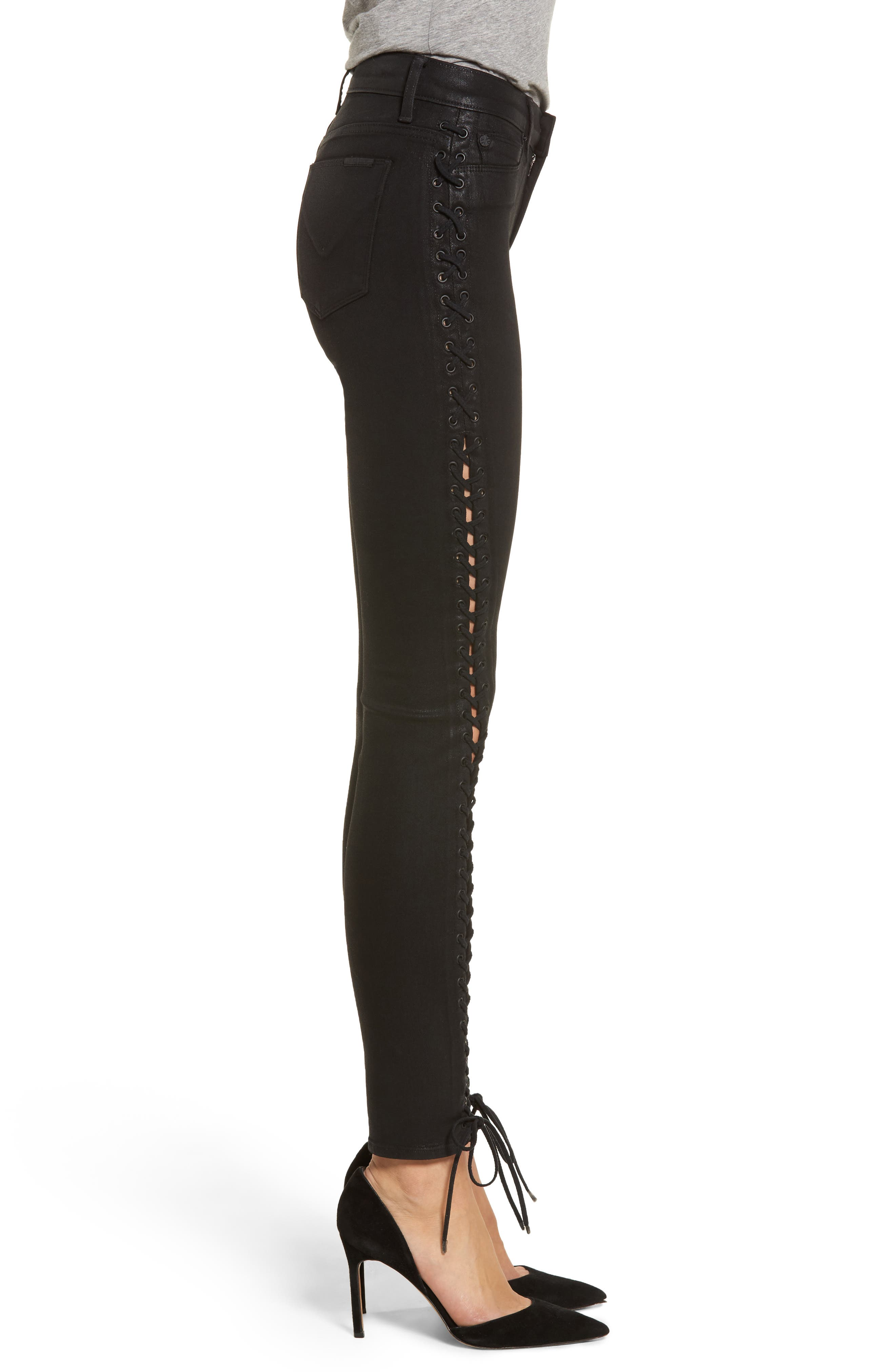 Alternate Image 3  - Hudson Jeans Stevie Lace-Up Skinny Jeans (Black Coated)