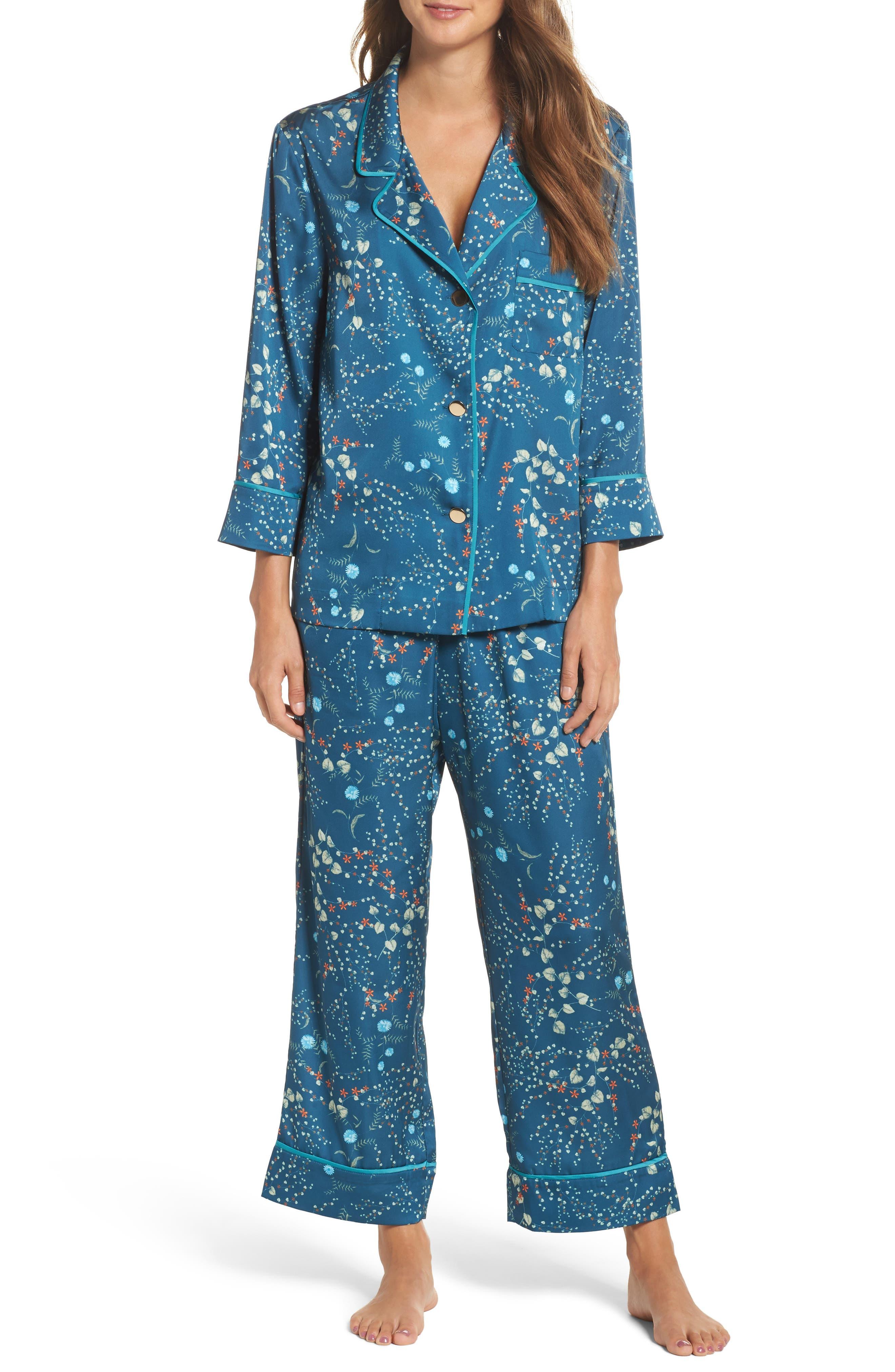 Alternate Image 1 Selected - Bed to Brunch Botanical Crop Pajamas