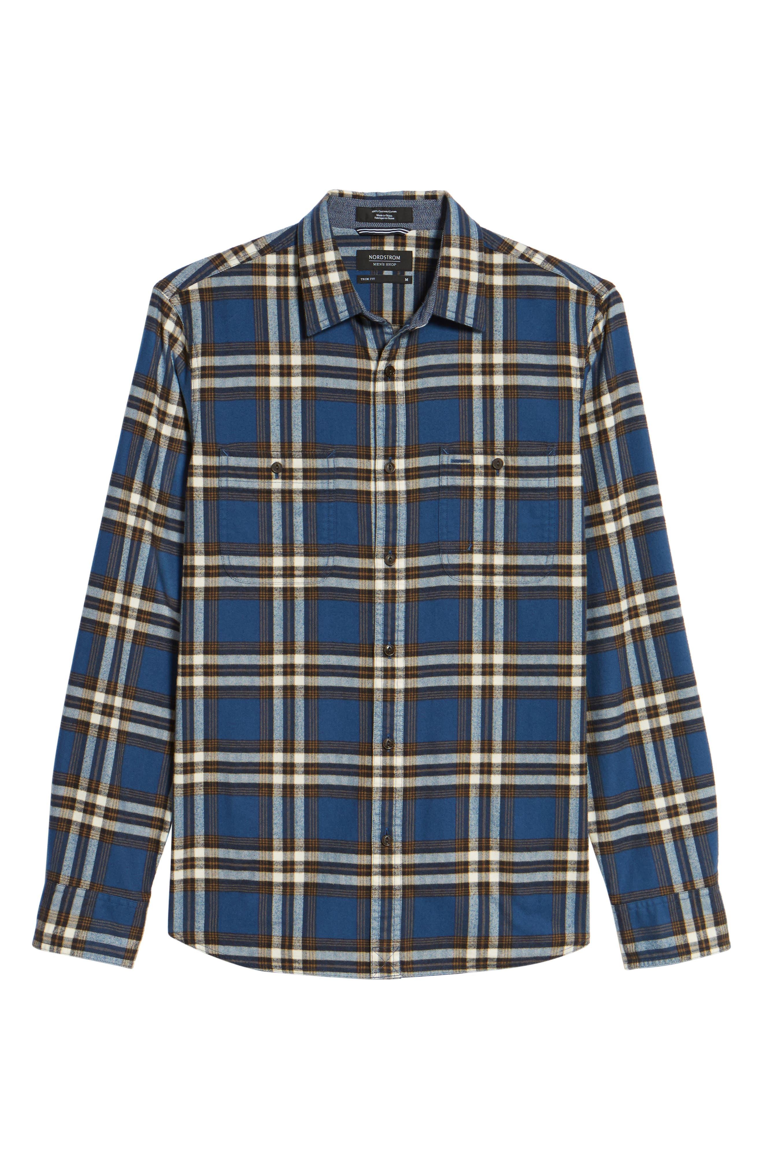 Trim Fit Workwear Check Flannel Shirt,                             Alternate thumbnail 6, color,                             Blue Vintage Brown Plaid