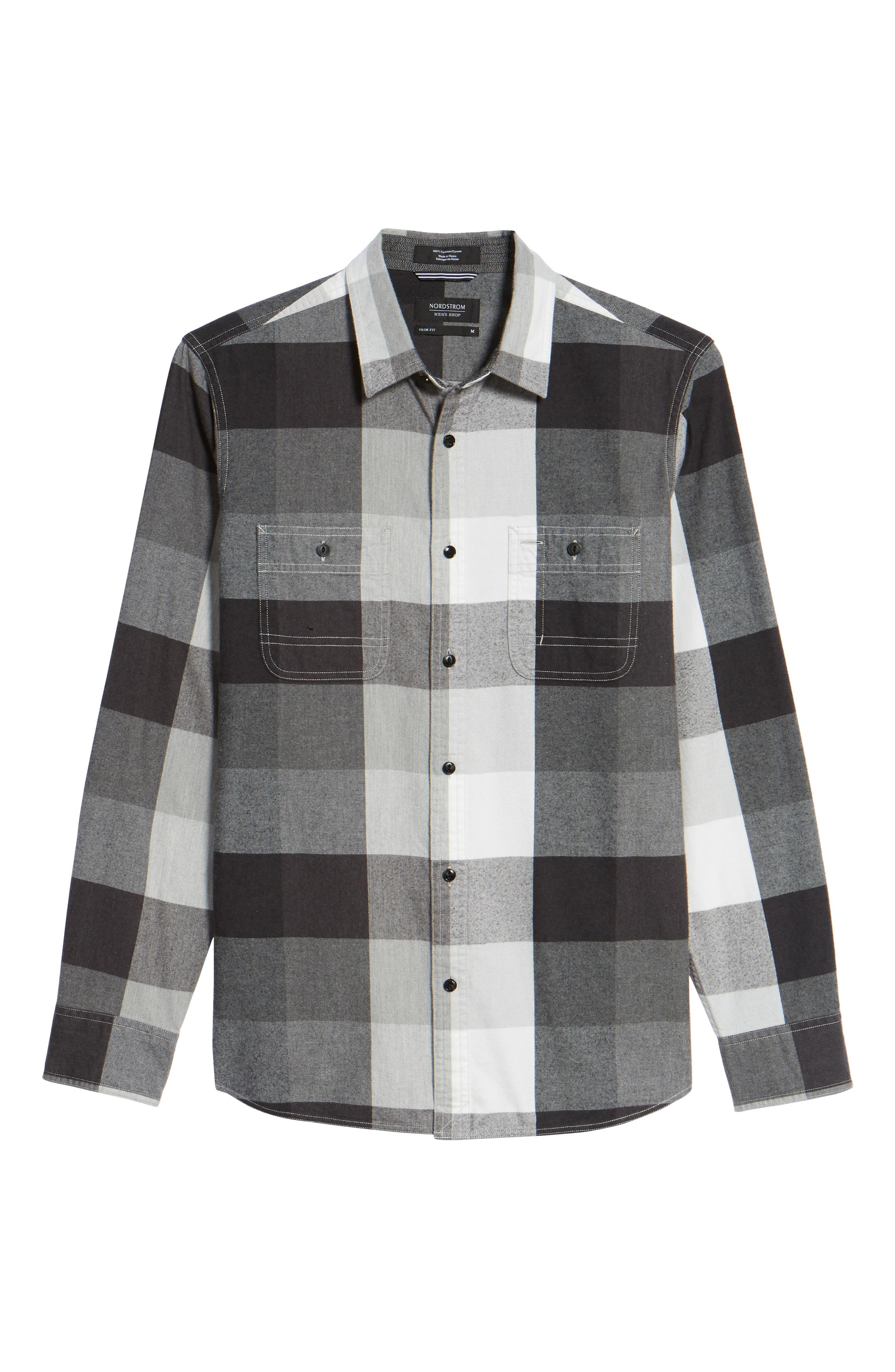 Trim Fit Workwear Check Flannel Shirt,                             Alternate thumbnail 6, color,                             Grey Paloma Buffalo Plaid