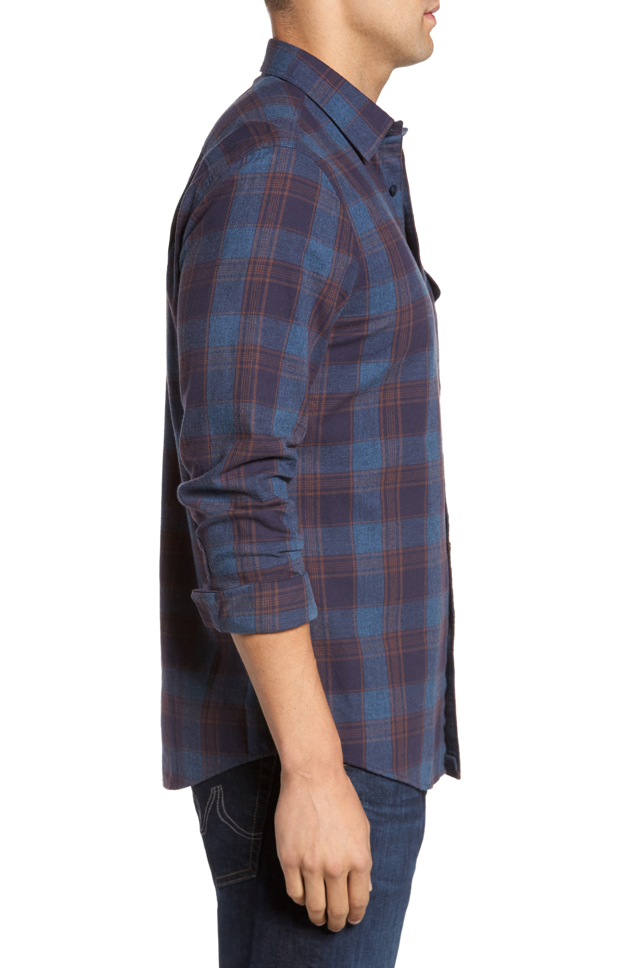 Regular Fit Lumber Check Flannel Shirt,                             Alternate thumbnail 3, color,                             Blue Canal Navy Plaid