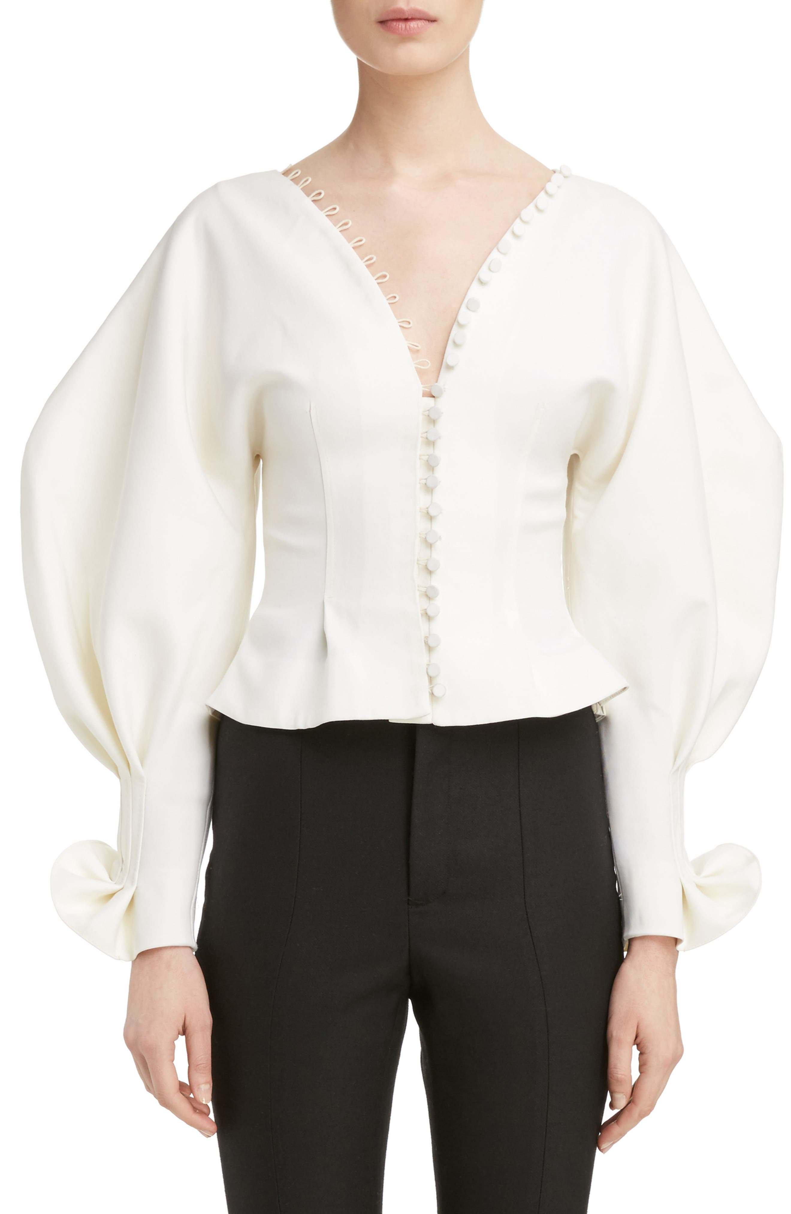 Jacquemus Oversized Sleeve Pintuck Blouse