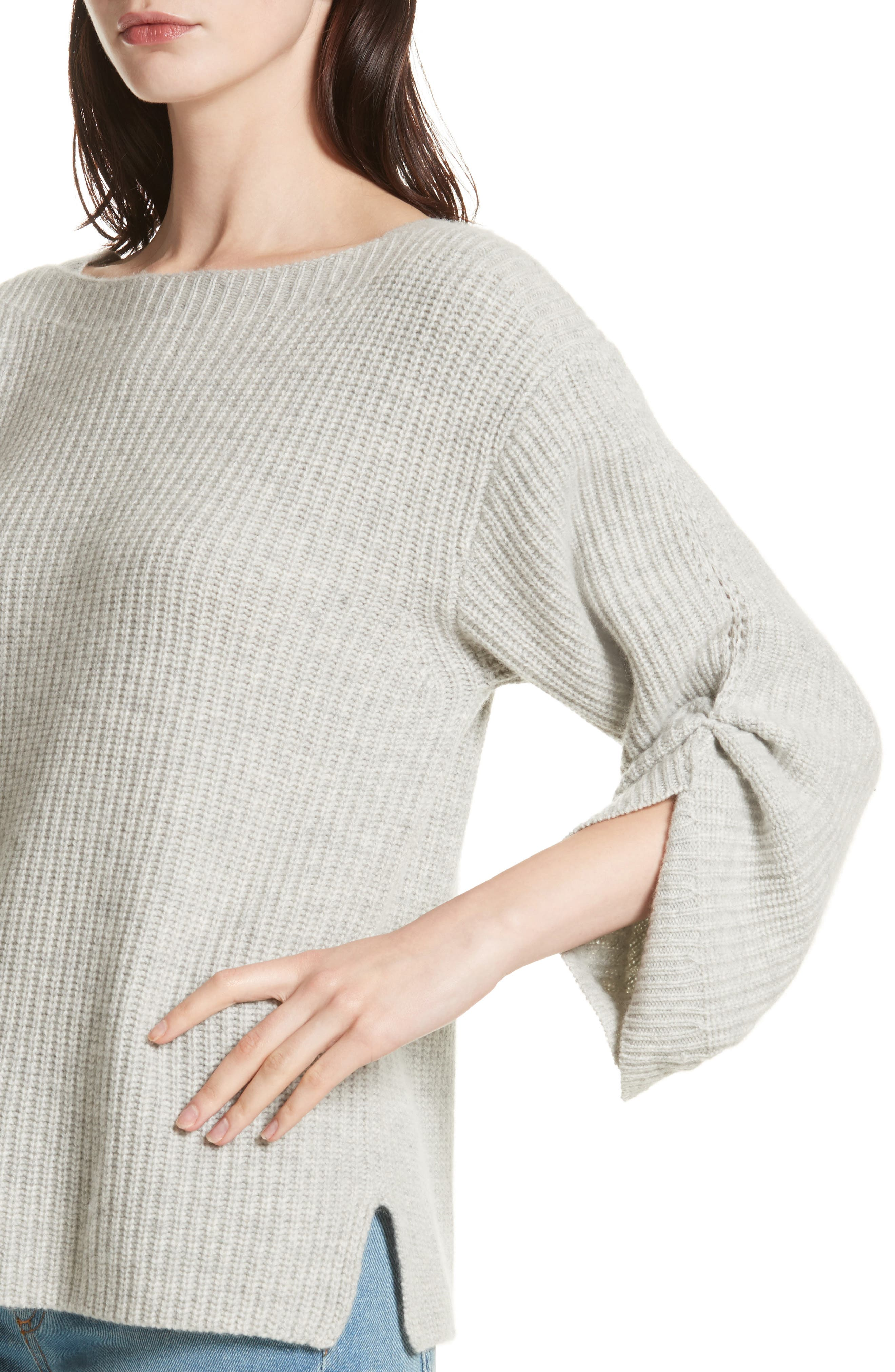 The Reva Boat Neck Wool & Cashmere Sweater,                             Alternate thumbnail 4, color,                             Gris Melange