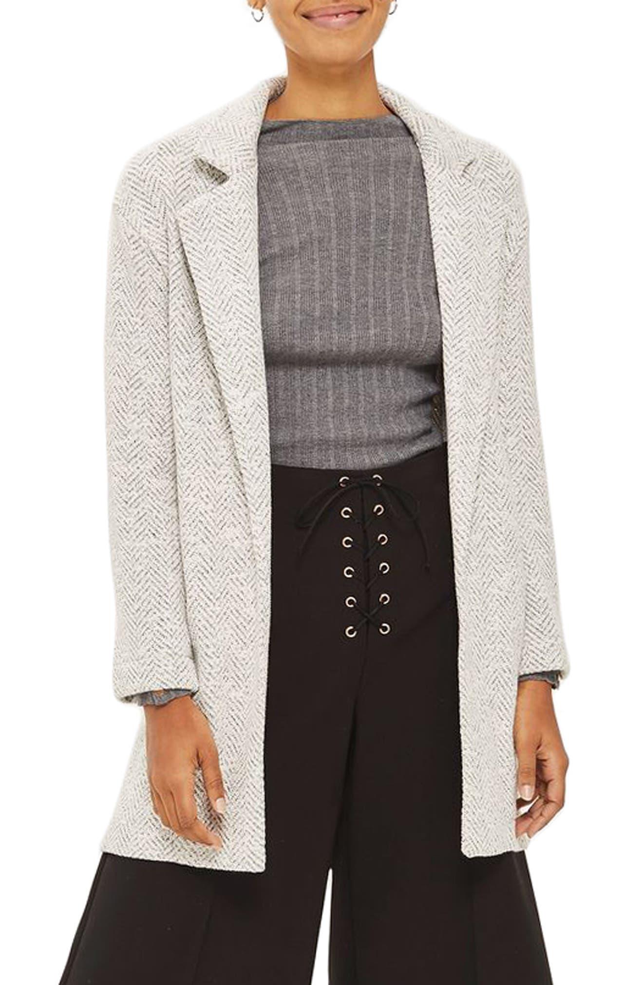 Textured Chevron Blazer Coat,                         Main,                         color, White Multi