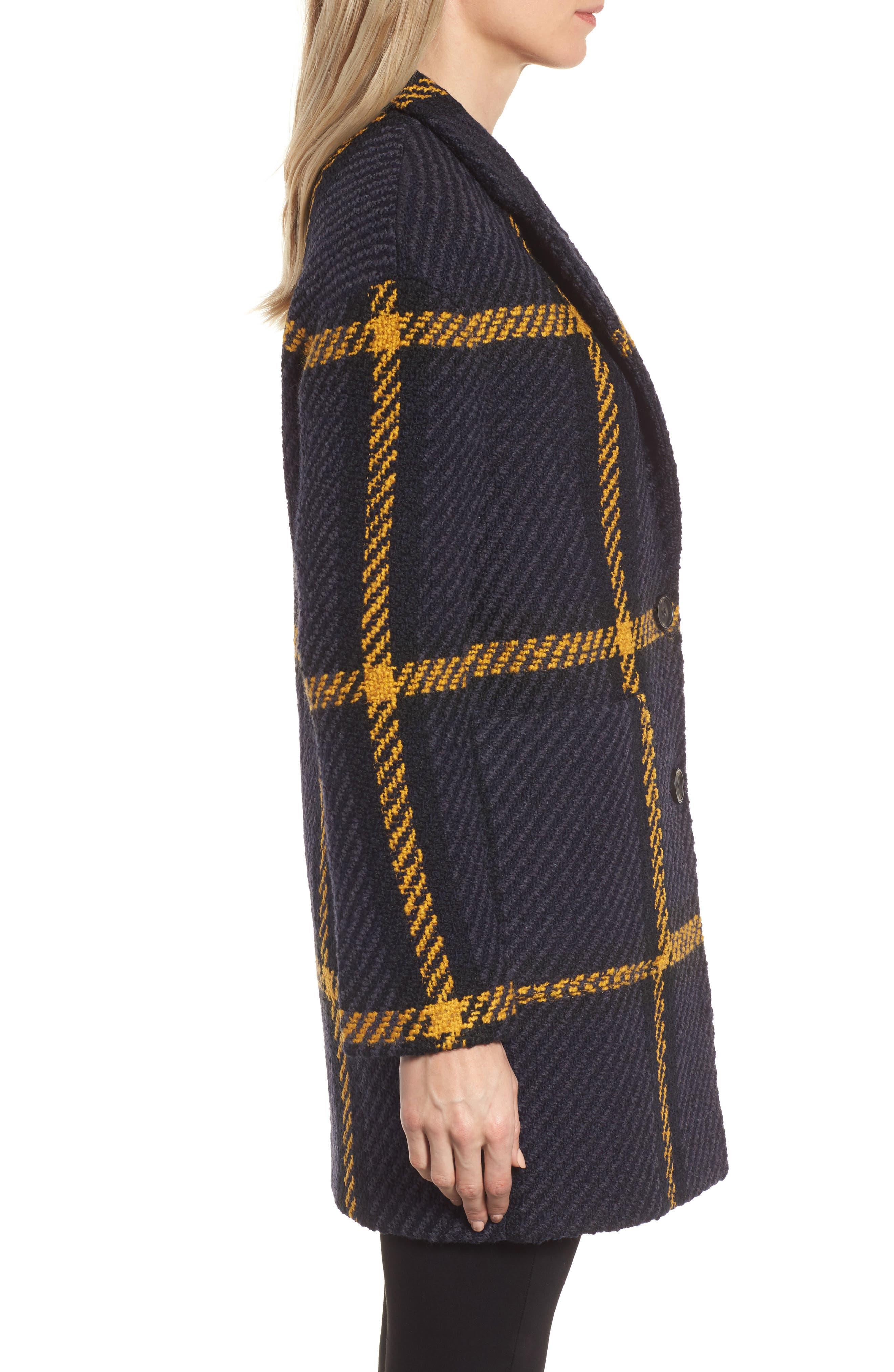 Alternate Image 3  - DKNY Textured Plaid Wool Blend Coat