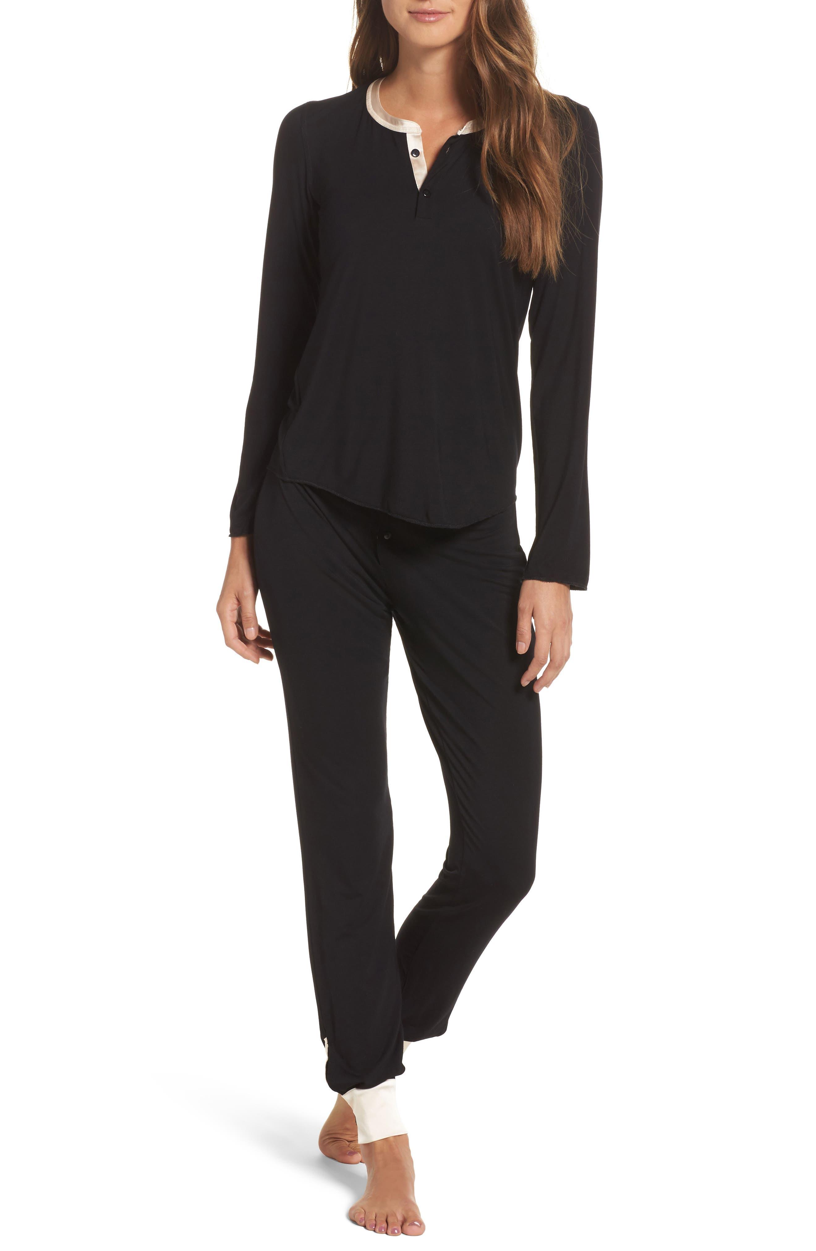 Cara Modal Knit Long Pajamas,                             Main thumbnail 1, color,                             Noir/ Vanilla