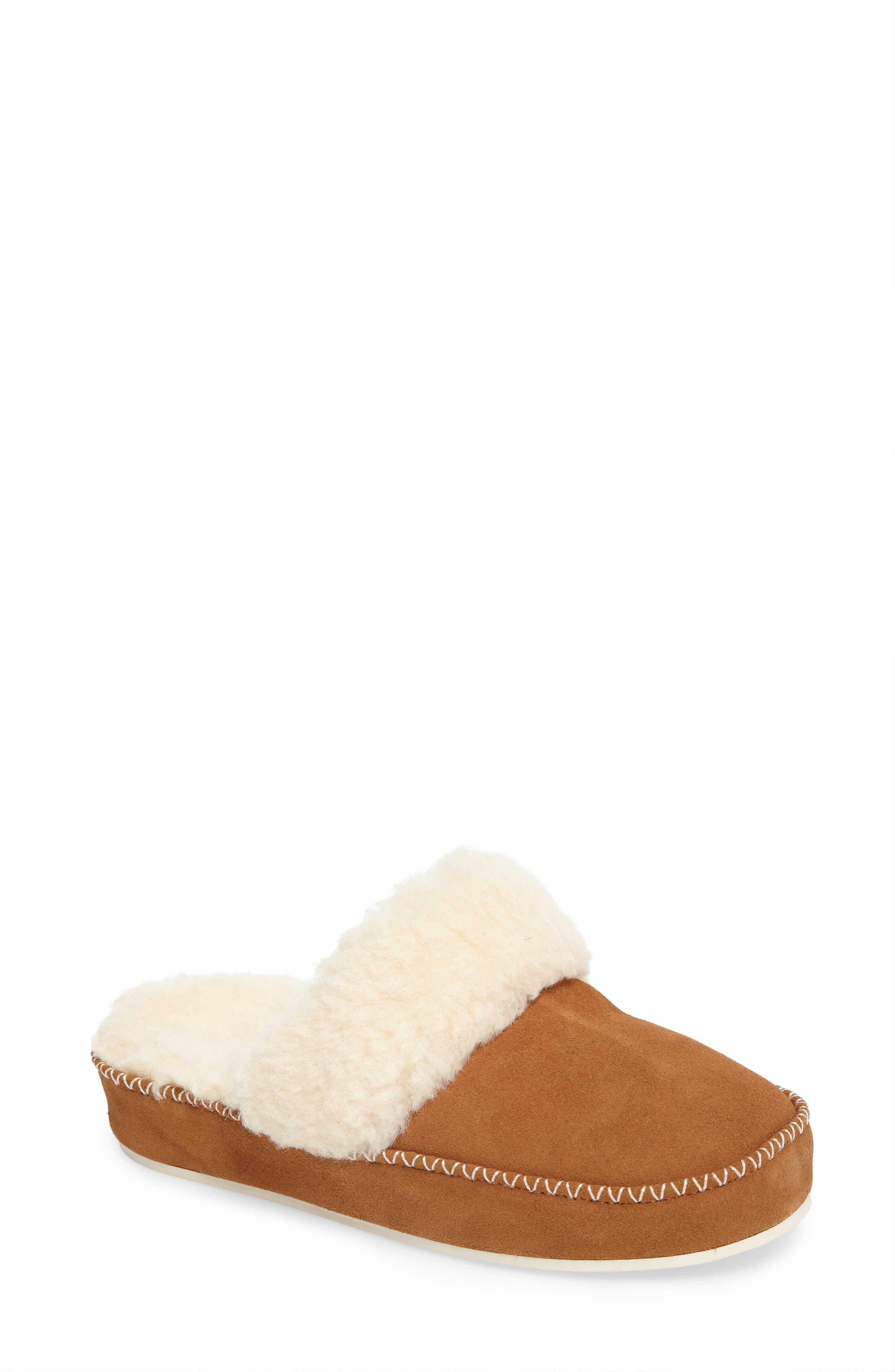 Marley Faux Fur Slipper,                         Main,                         color, Chestnut Suede