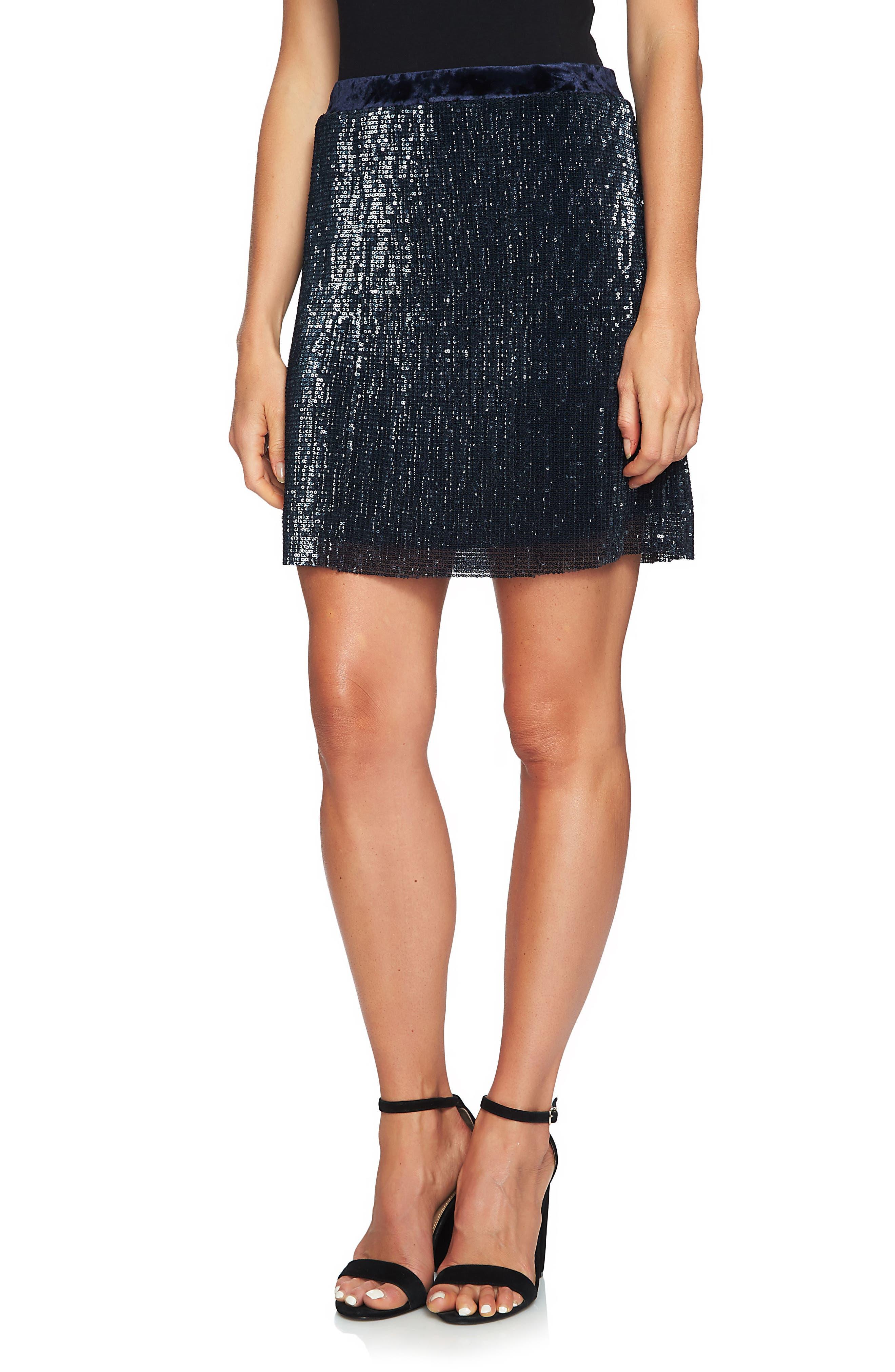 1.STATE Sequin & Velvet Miniskirt